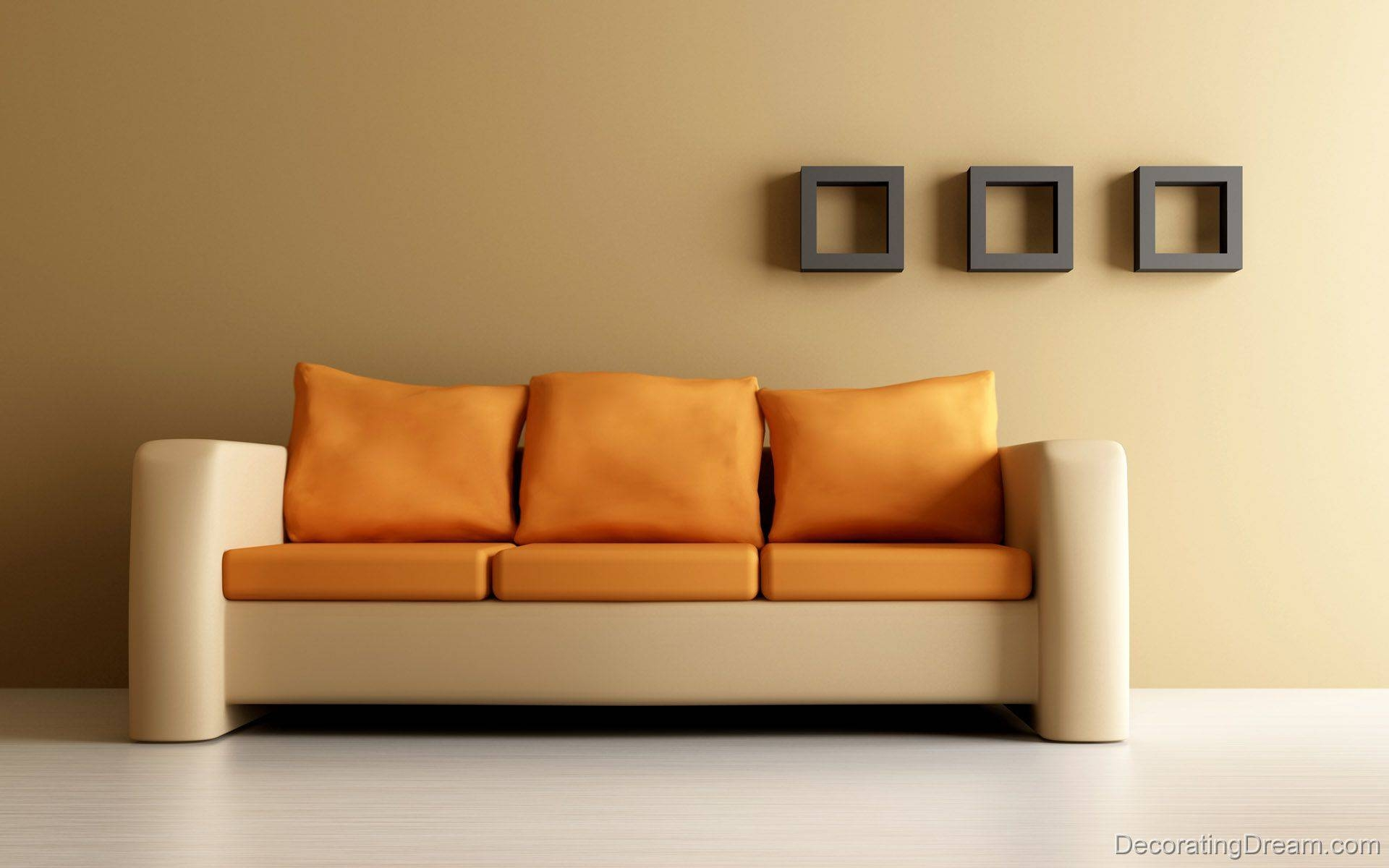 Simple And Cntemporary Sofa Wit Yellow Pillow Furniture Photo within Simple Sofas (Image 6 of 15)