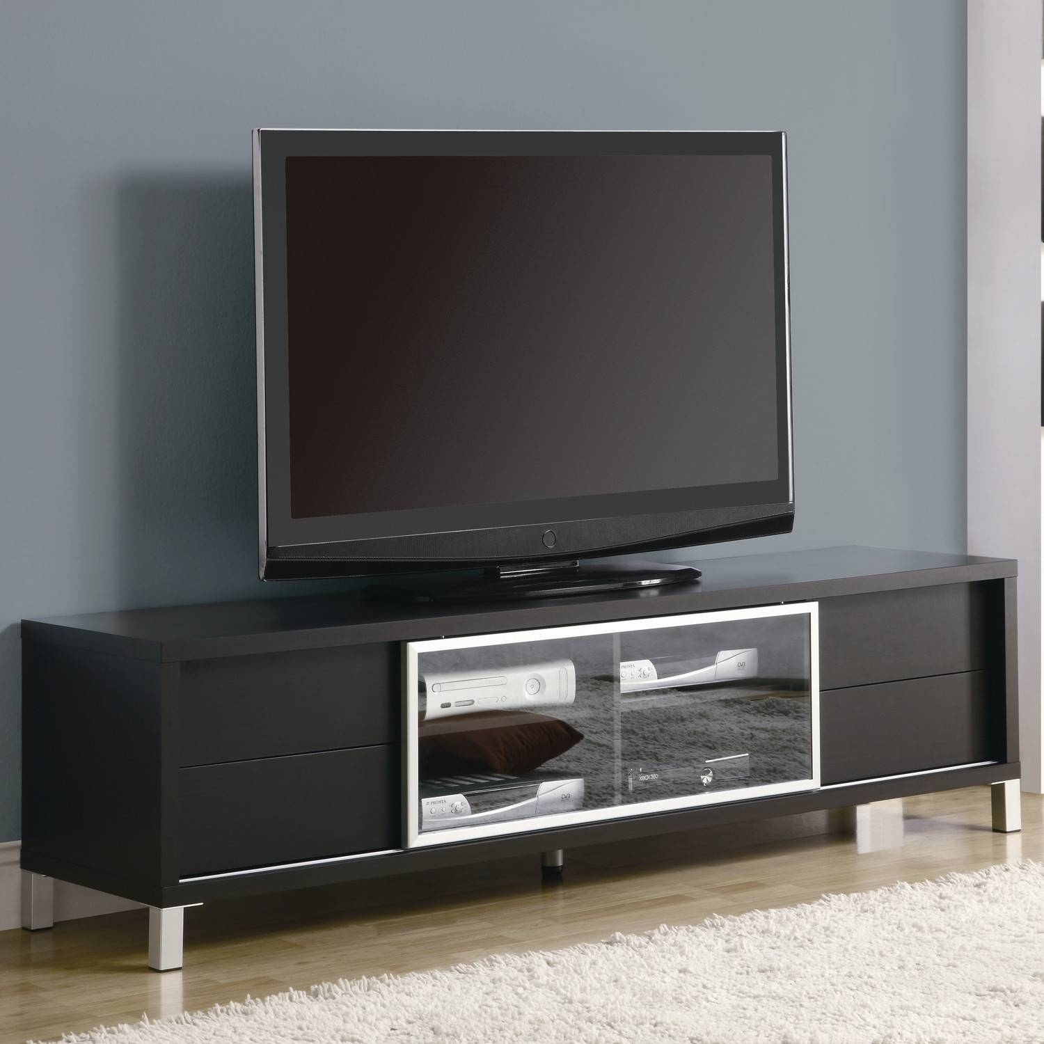 Simple Black Led Tv Right For Unusual Tv Stands On Wood Floor With regarding Unusual Tv Stands (Image 9 of 15)