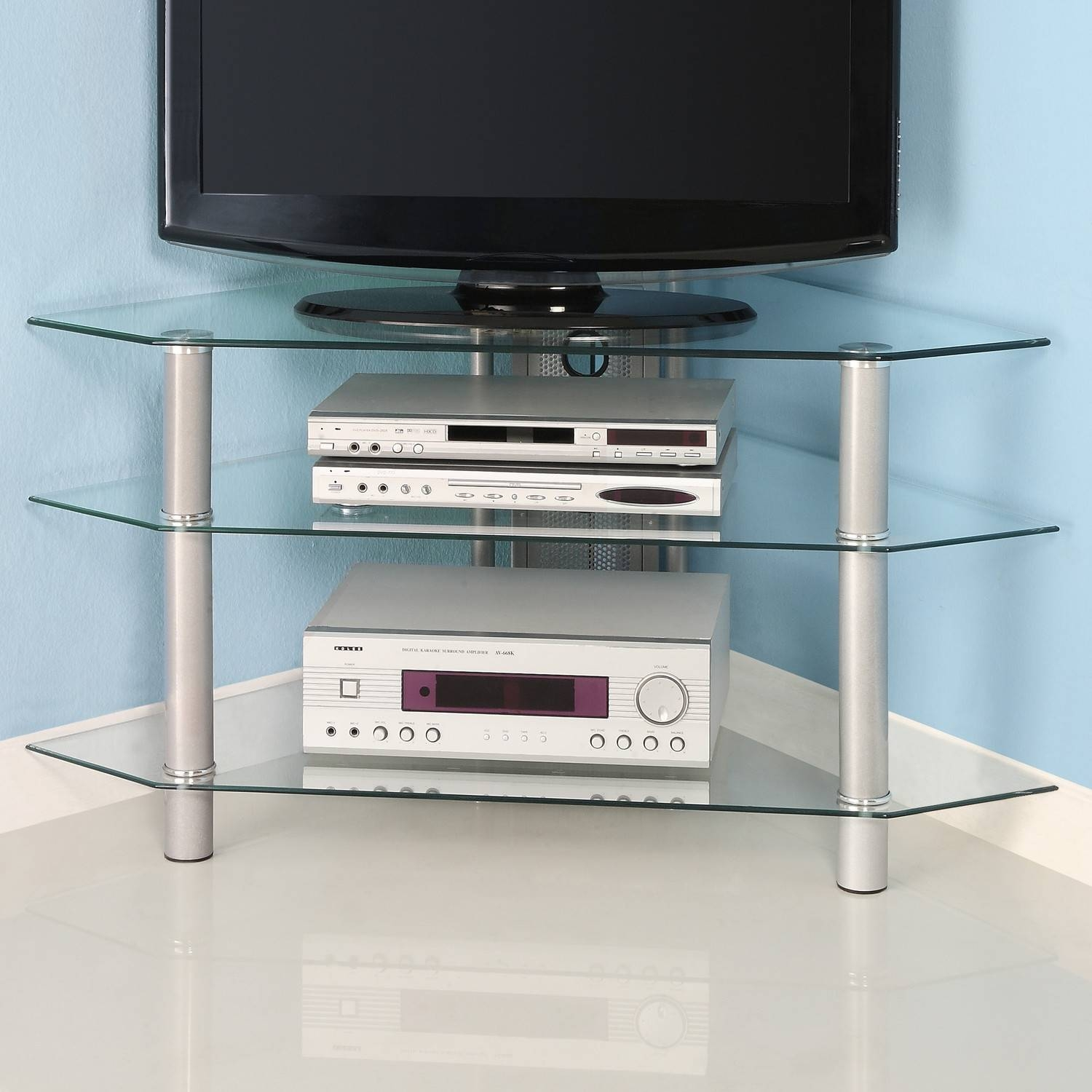 Simple Cool Glass Corner Tv Stands With Stainless Steel Legs Ideas Inside Glass Tv Cabinets (View 9 of 15)