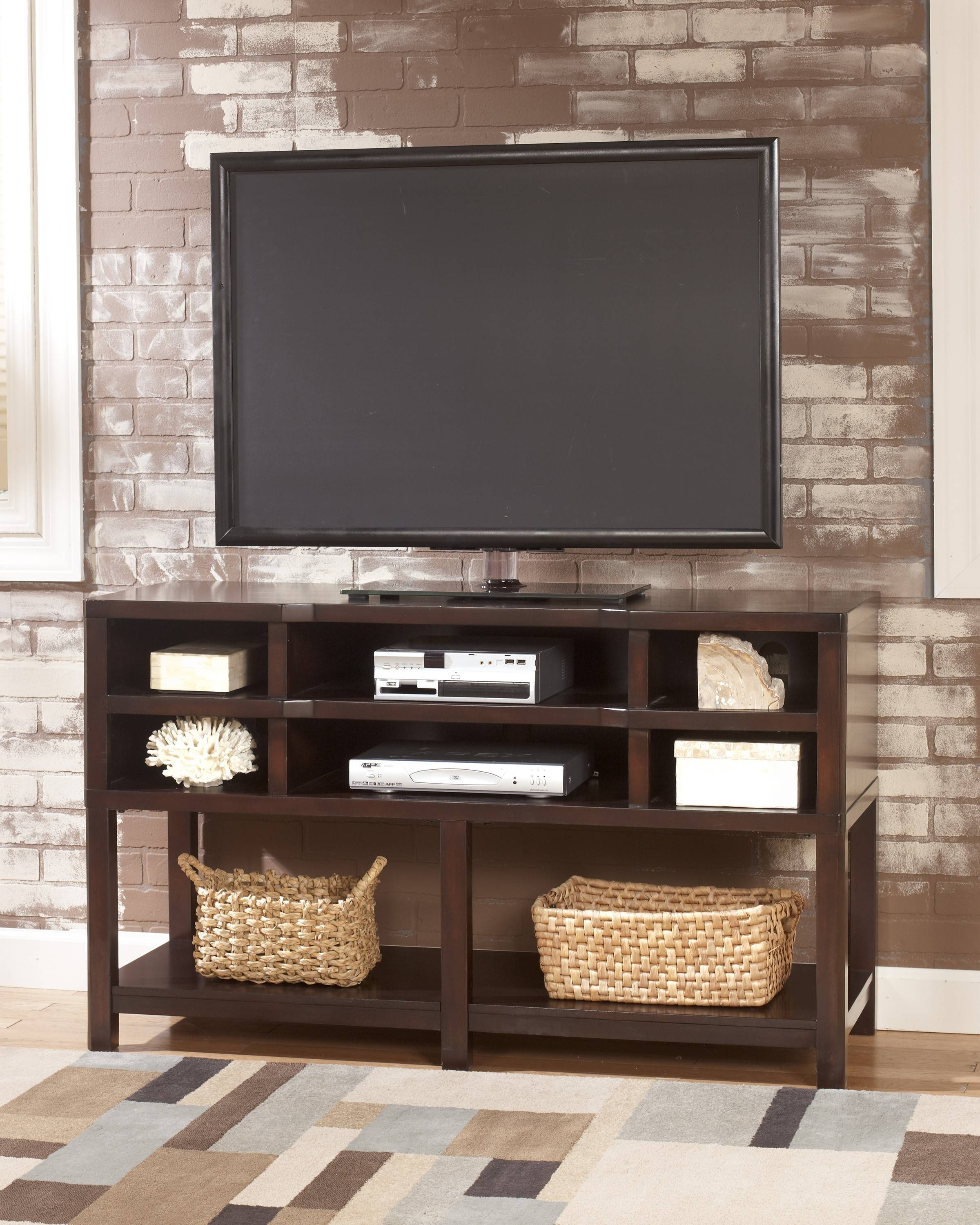 Simple Modern Oak Flat Screen Tv Stand Console Table With Throughout Tv Stands With Storage Baskets (View 2 of 15)