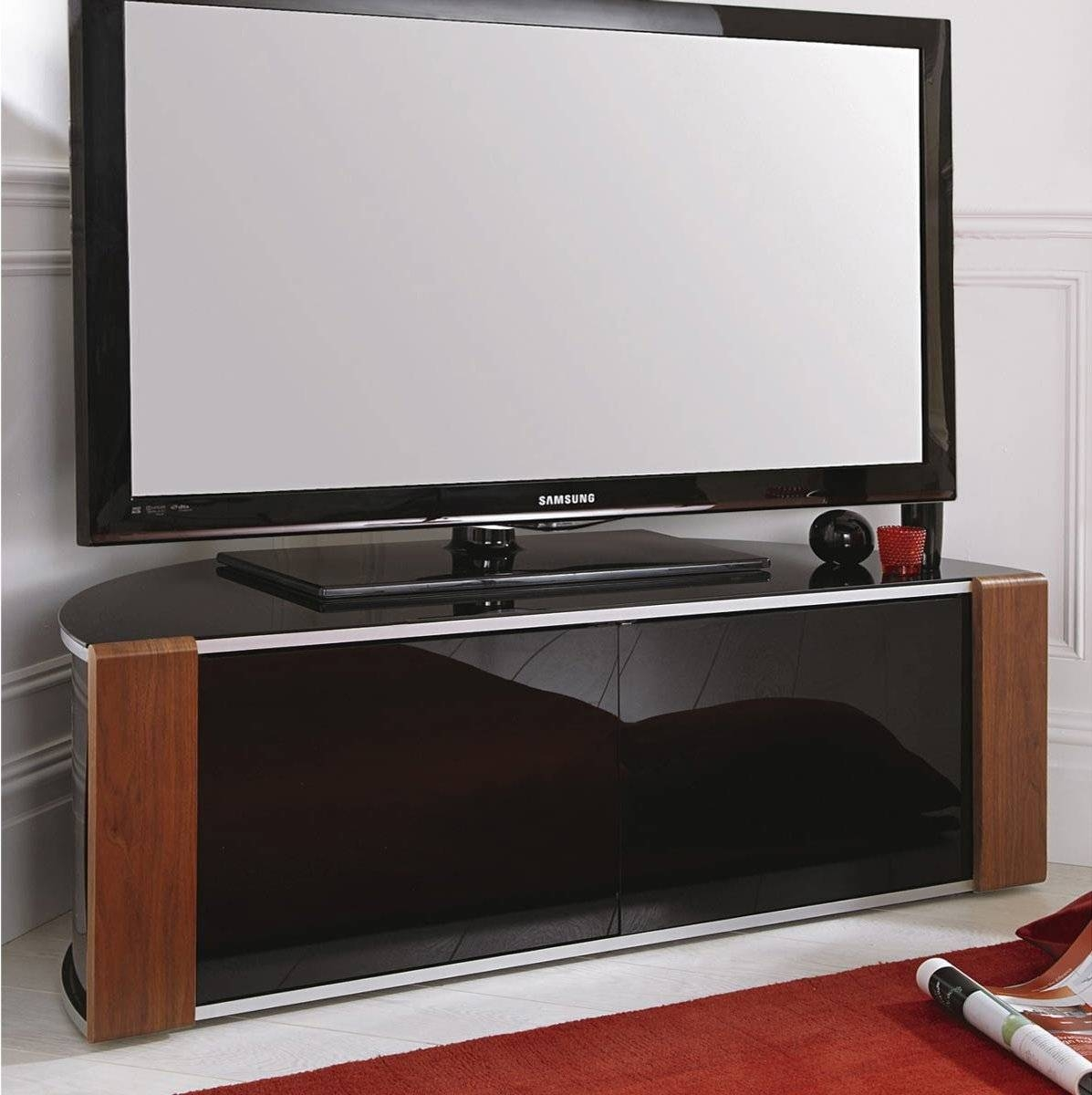 Sirius 1200 Black And Walnut Corner Tv Cabinet throughout Corner Tv Unit With Glass Doors (Image 11 of 15)