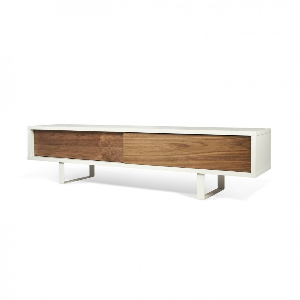 Slide Low Tv Stand | Pure White / Walnut, Tema Home – Modern Manhattan With Regard To Modern Low Profile Tv Stands (View 13 of 15)