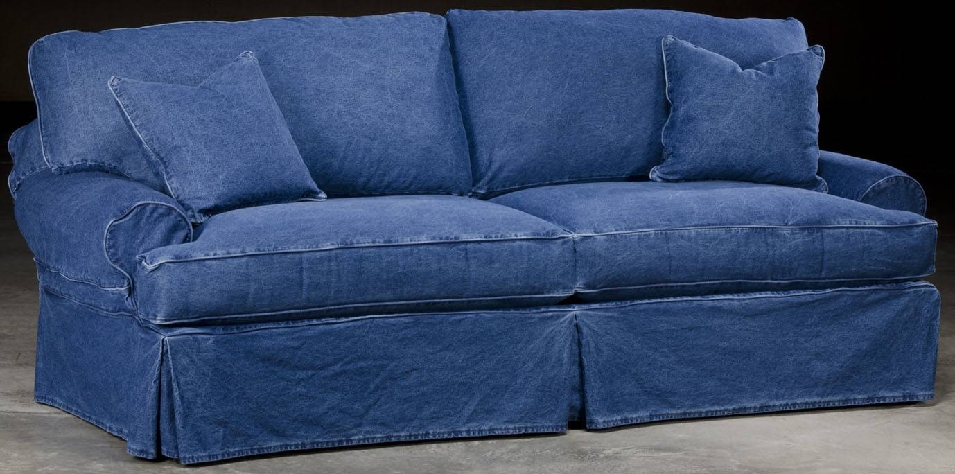 Slip Cover Denim Style Sofa throughout Blue Denim Sofas (Image 12 of 15)