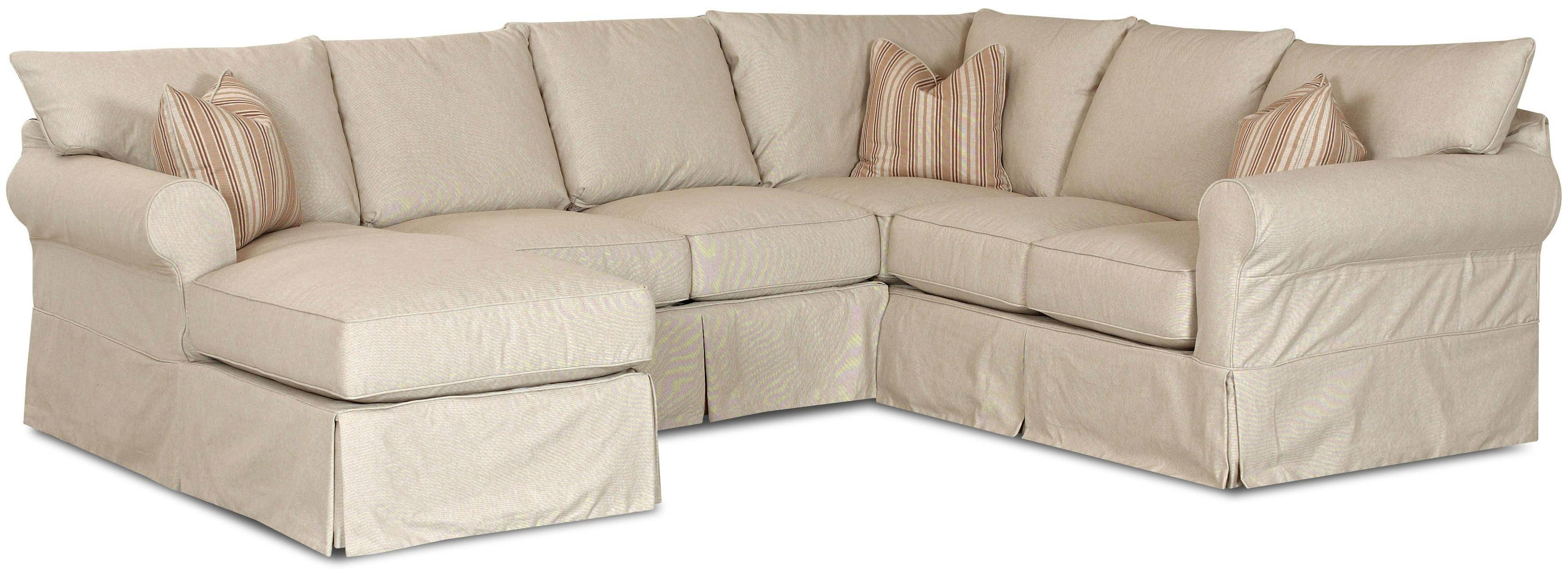 Slip Cover Sectional Sofa With Left Chaiseklaussner | Wolf And Pertaining To Sofas Cover For Sectional Sofas (View 11 of 15)