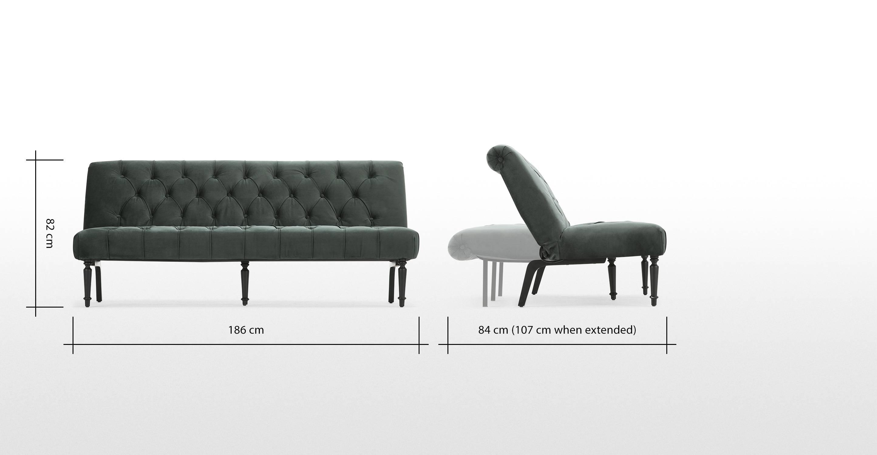 Slipper Sofa Bed, Midnight Grey Velvet | Made for Slipper Sofas (Image 7 of 15)