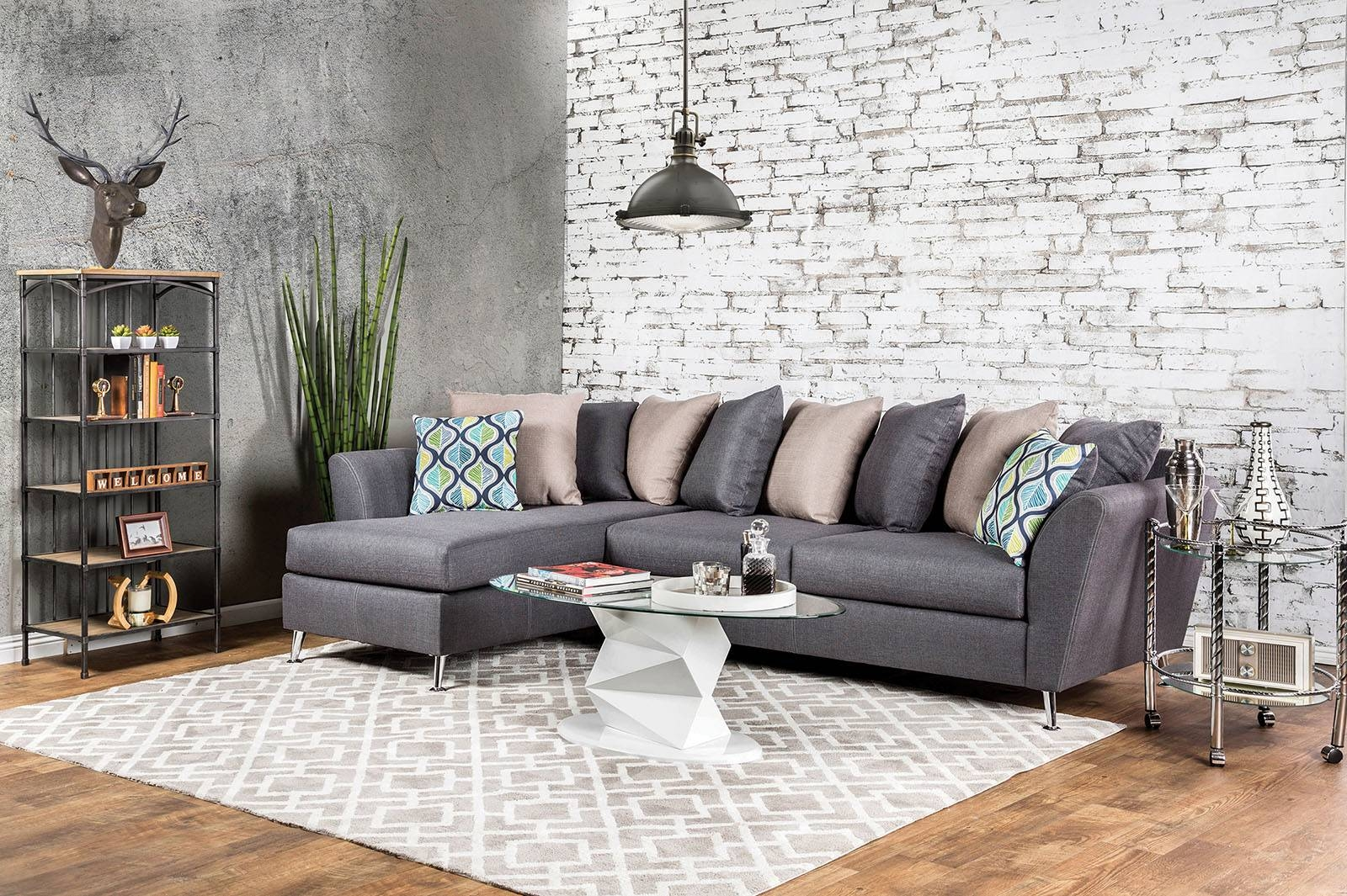 Sm6201 Gray Loose Pillow Back Multi Color Sectional Sofa Long with regard to Loose Pillow Back Sofas (Image 12 of 15)