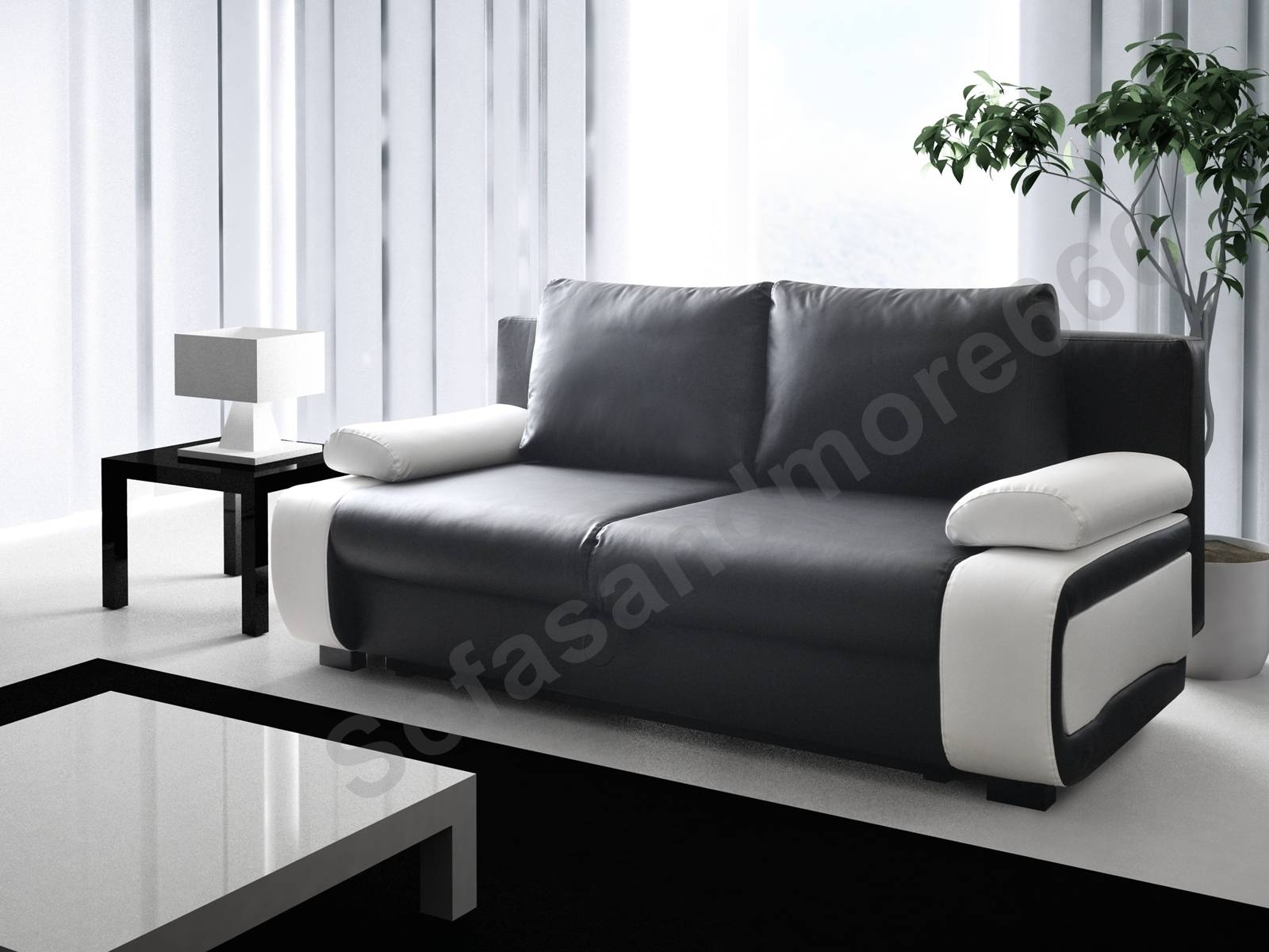 Small Black Leather Sofa Bed | Centerfieldbar inside Black and White Leather Sofas (Image 13 of 15)