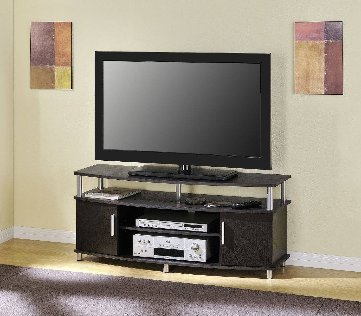 Small Black Oak Wood Tv Stand With Countertop And Cabinet Storage pertaining to Wooden Tv Stands For Flat Screens (Image 9 of 15)
