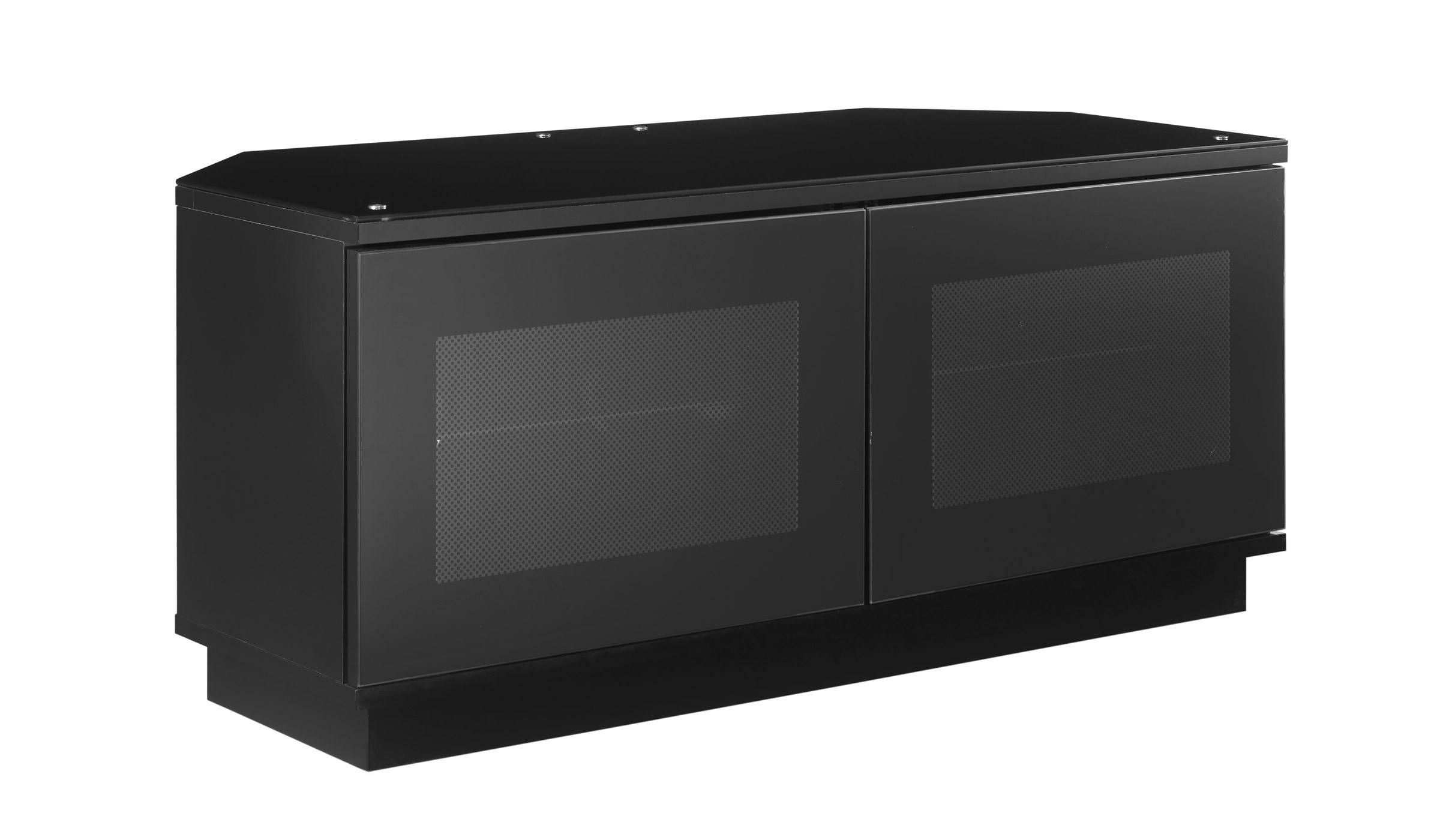 Small Black Tv Stand Cabinet With Door For Corner – Decofurnish Intended For Black Corner Tv Cabinets (View 11 of 15)
