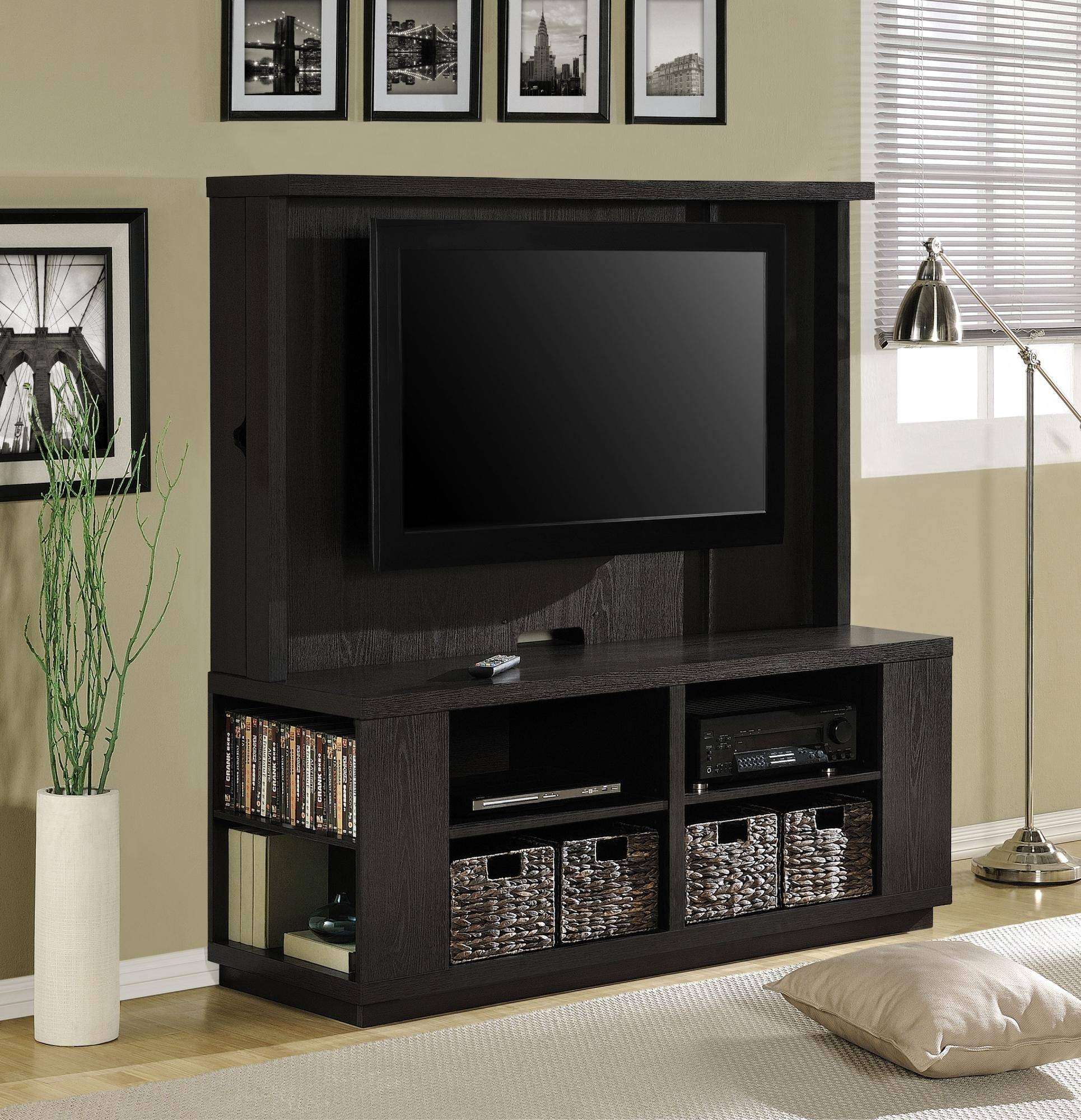 Small Black Wall Mounted Tv Stand With Storage Shelves Plus Woven Throughout Tv Stands With Baskets (View 2 of 15)