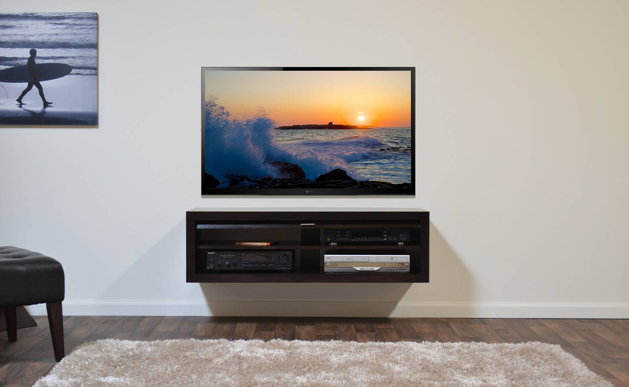 Small Floating Tv Console With Four Shelves Of Minimalist Floating in  Single Shelf Tv Stands (