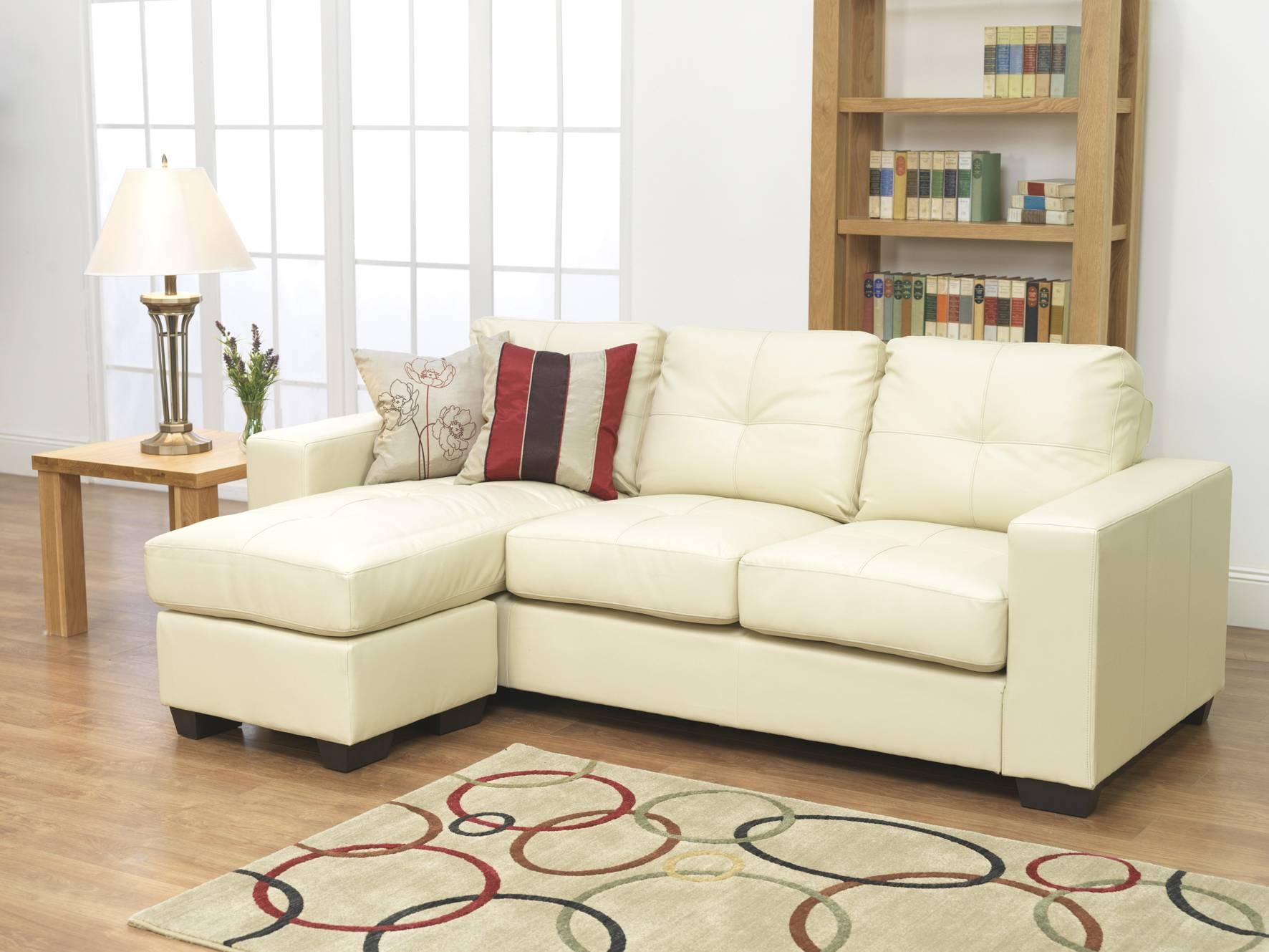 Small L Shaped Ivory Leather Sleeper Sofa With Chaise Lounge Added for Small L-Shaped Sectional Sofas (Image 10 of 15)