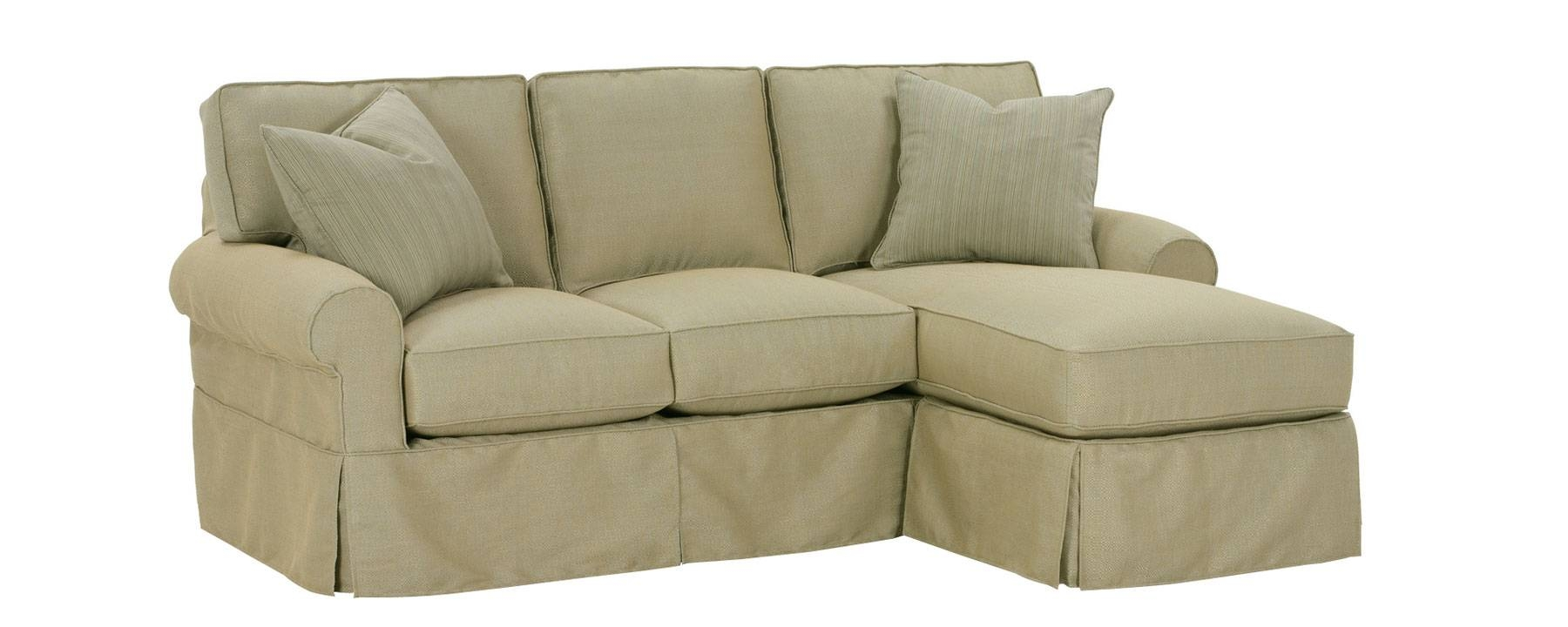 Small Slipcovered Sectional Sofa W/ Reversible Chaise & Rolled Arms with regard to Slipcovered Chaises (Image 12 of 15)