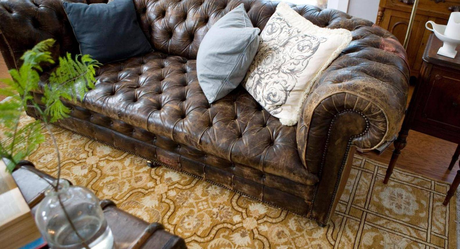 Sofa : Brown Leather Tufted Sofa Blinding Brown And White Sofa pertaining to Brown Tufted Sofas (Image 14 of 15)