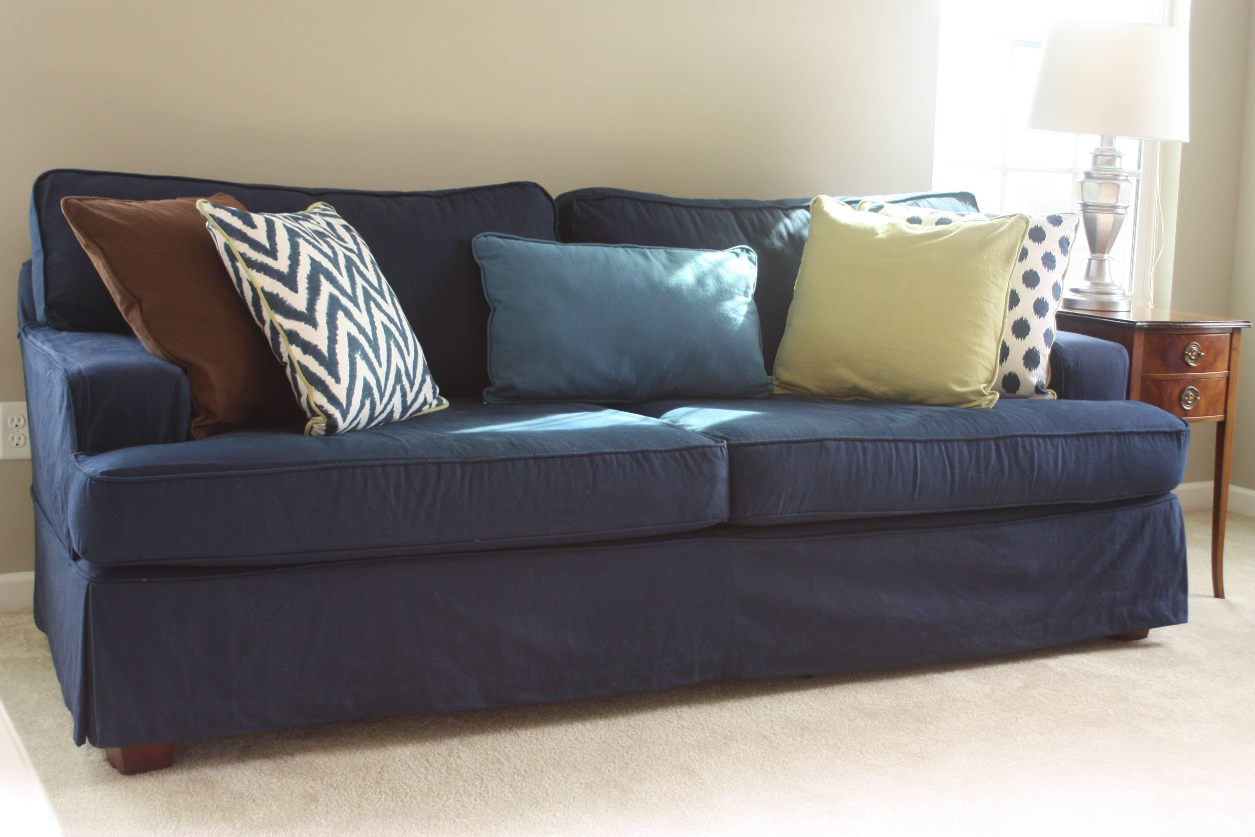 Sofa Covered In Blue Denim. Inside Slipcover Sofa Ideas - Mi Ko for Blue Slipcovers (Image 15 of 15)