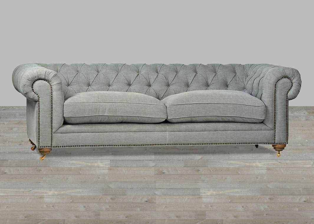 Sofa Grey Chesterfield Style Button Tufted Intended For Silver Tufted Sofas (Photo 4 of 15)