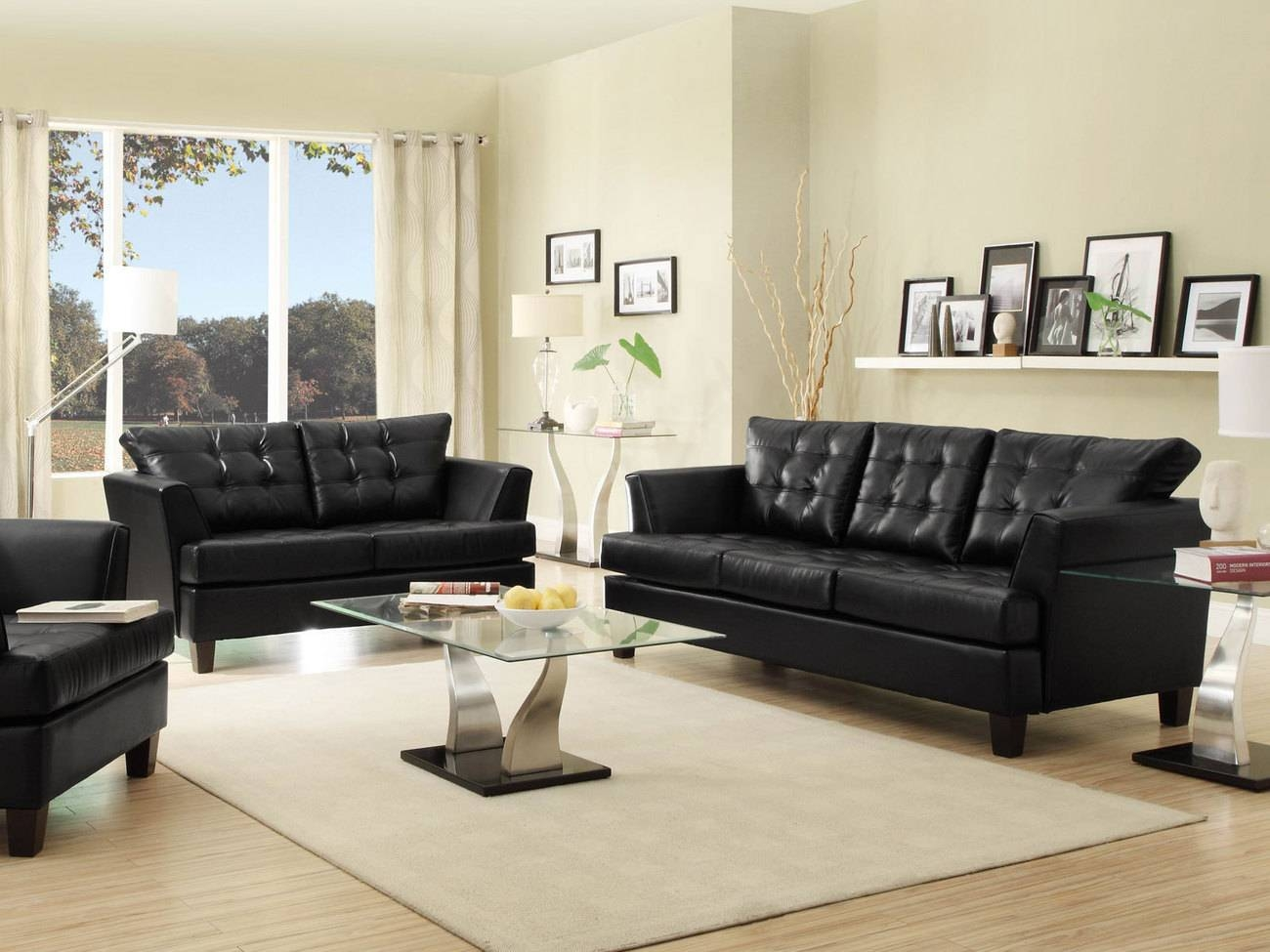 Sofa Living Room Decorating Ideas With Black Leather Furniture regarding Black Sofas for Living Room (Image 15 of 15)