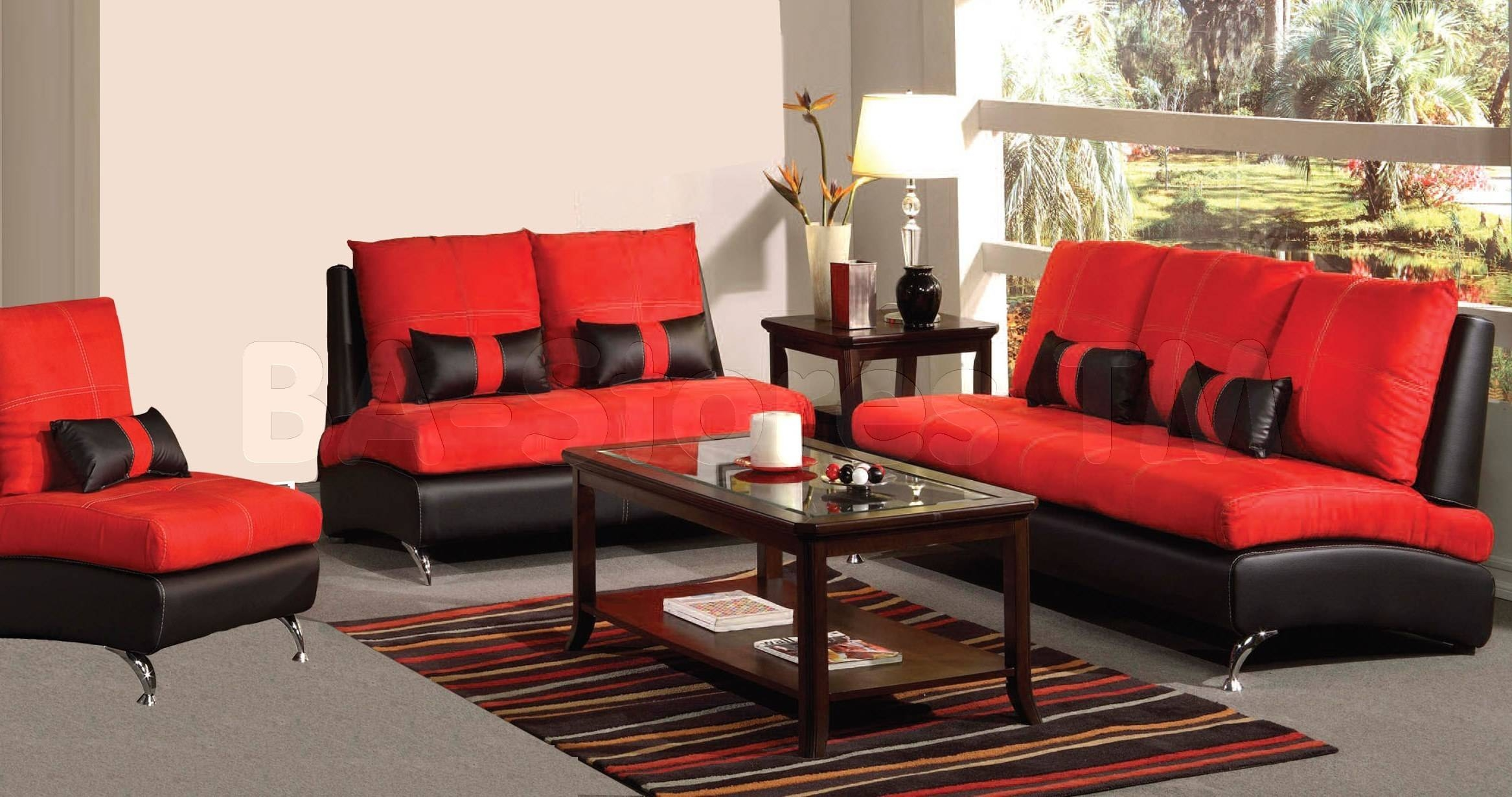 Sofa Sets: Jolie 3 Pc Sofa Set | Red Af-51745-Set/6 - Ba Stores intended for Black And Red Sofas (Image 15 of 15)