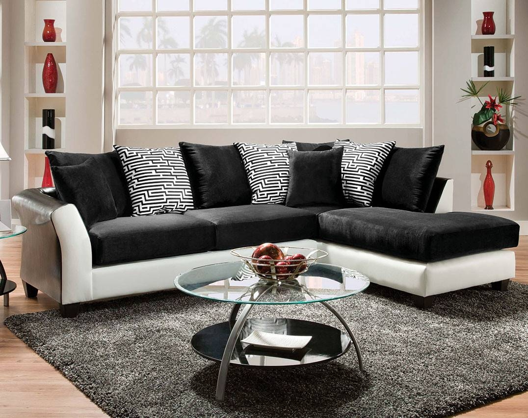 Sofas Center : Ripple Leather And Look Right Arm Facing Piece intended for Black And White Sofas And Loveseats (Image 14 of 15)