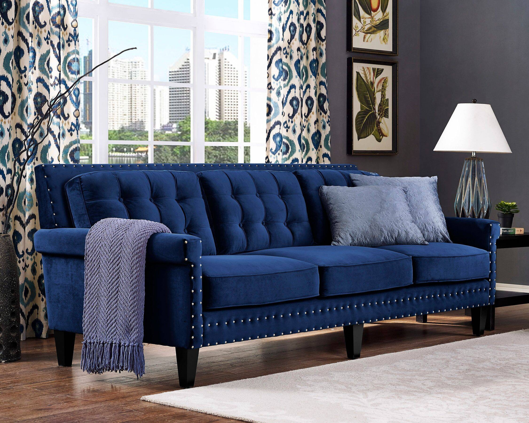 Sofas inside Blue Velvet Tufted Sofas (Image 14 of 15)