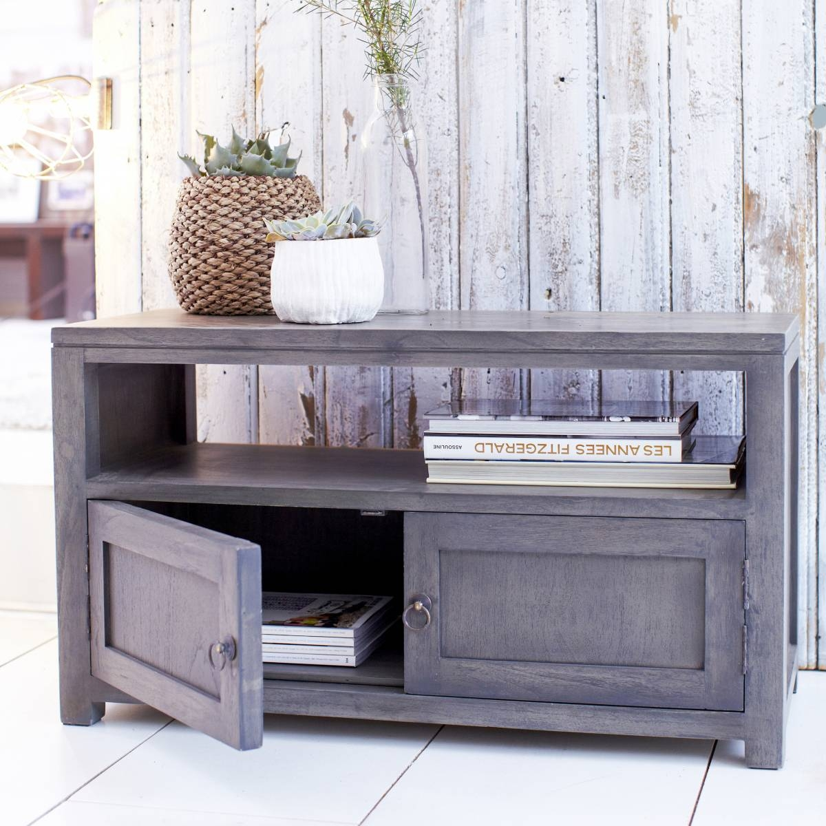 Solid Grey Tv Stand : How To Make Grey Tv Stand – Indoor & Outdoor for Grey Wood Tv Stands (Image 6 of 15)