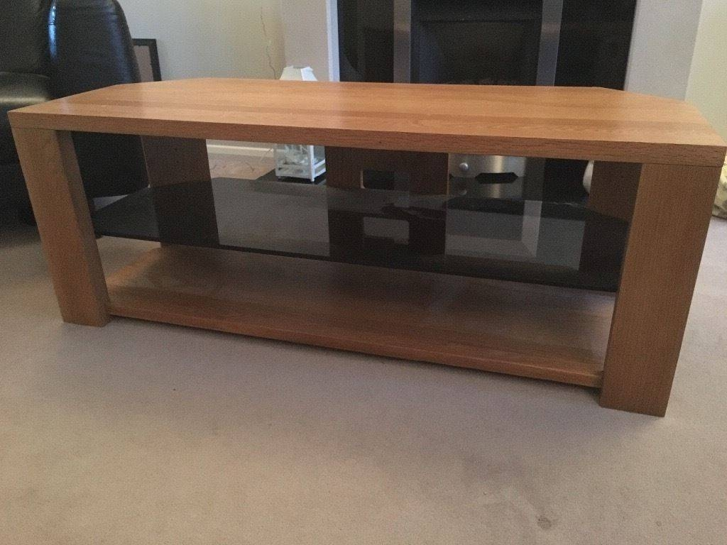 Solid Oak And Glass Tv Stand 1.2M Wide | In Binfield, Berkshire within Glass And Oak Tv Stands (Image 9 of 15)