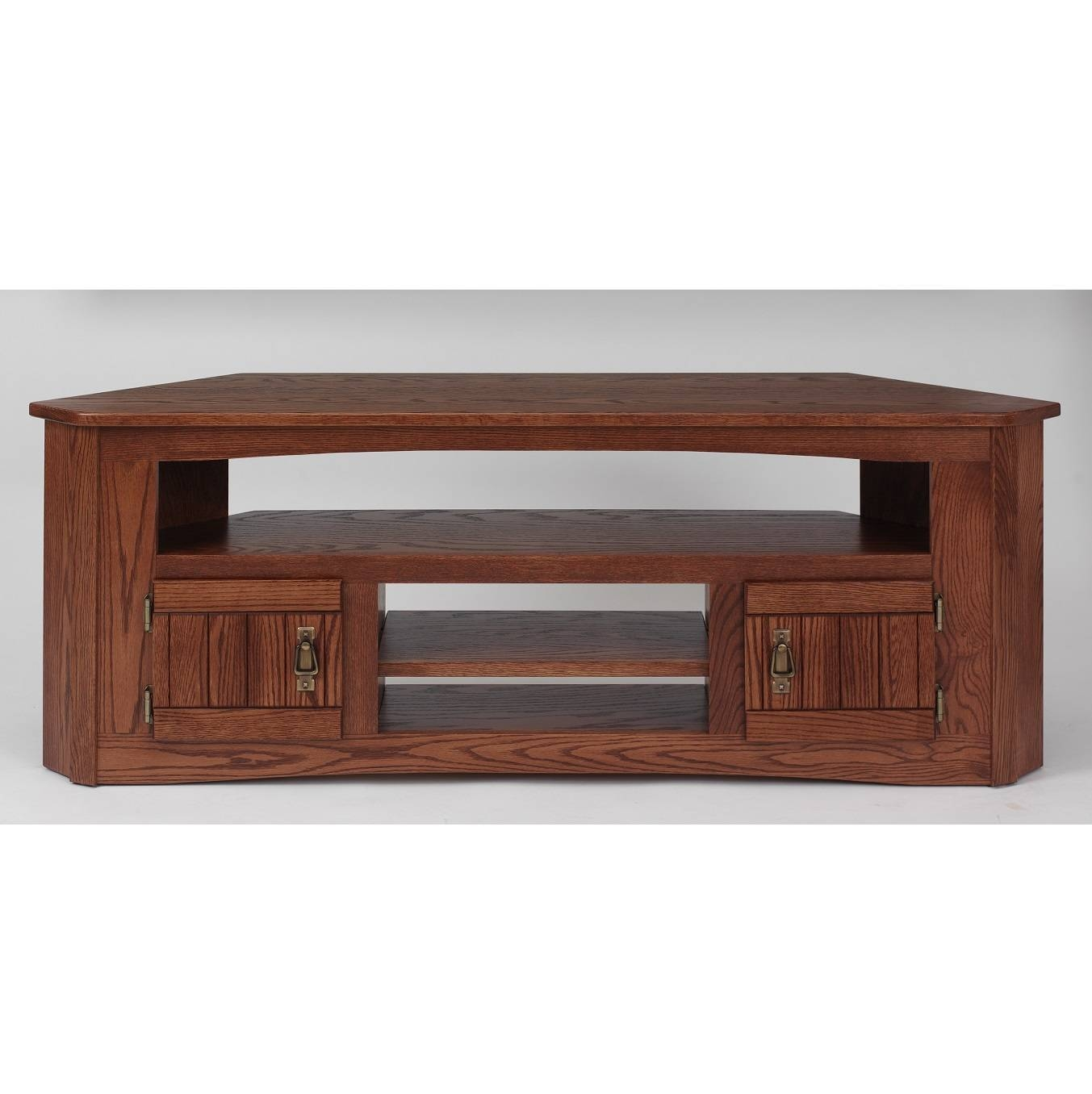 Solid Oak Mission Style Corner Tv Stand – 61″ – The Oak Furniture Shop pertaining to Oak Corner Tv Stands (Image 11 of 15)