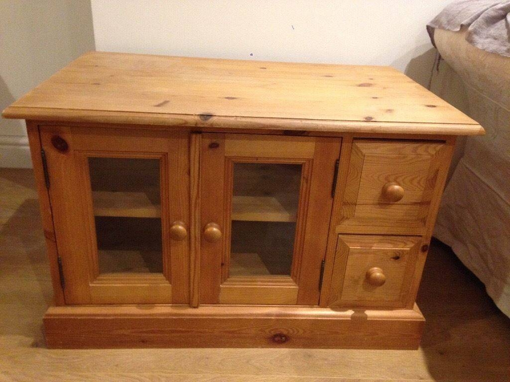 Solid Pine Tv Cabinet In Good Condition. Glass Fronted Doors, Two for Solid Pine Tv Cabinets (Image 10 of 15)