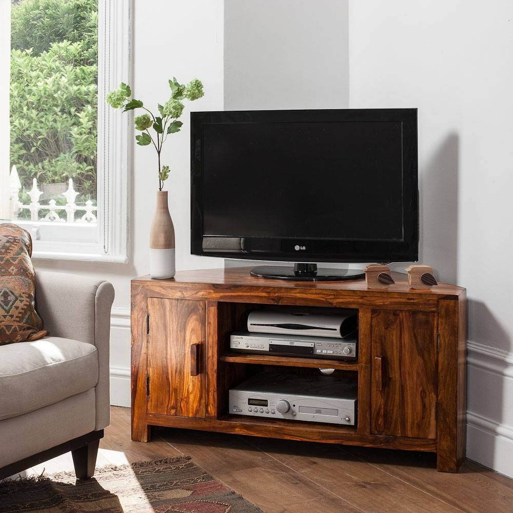 Solid Sheesham Wood Television Stand | Corner Tv Unit | Casa Bella Throughout Wood Corner Tv Cabinets (View 7 of 15)