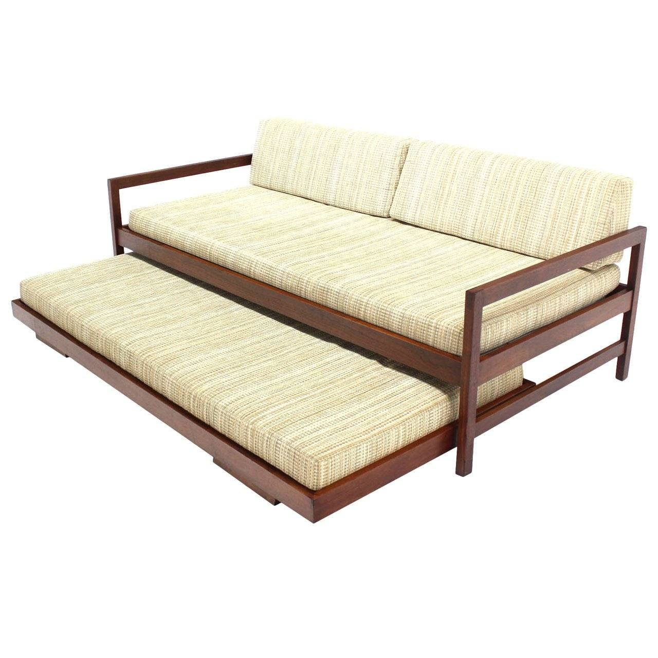 Solid Walnut Frame Mid-Century Modern Trundle, Pull-Out Daybed At within Sofas With Trundle (Image 12 of 15)