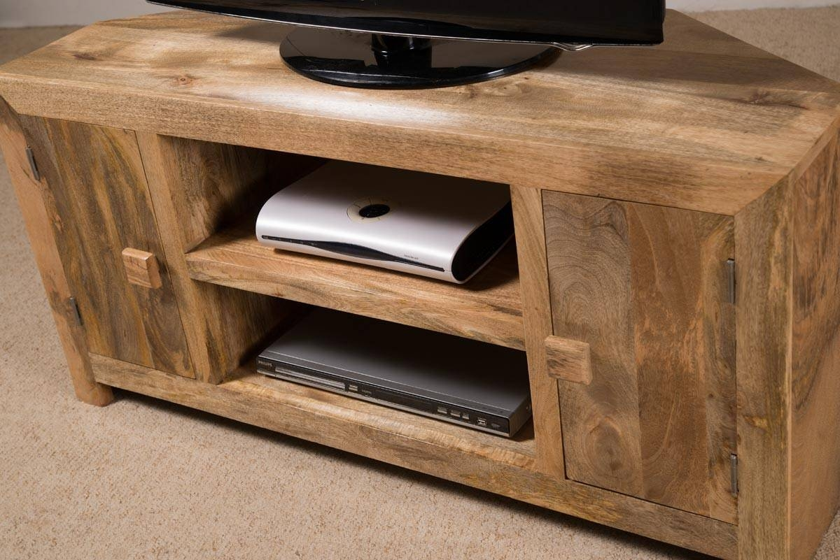 Solid Wood Corner Tv Cabinet - Large | Dakota Mango Furniture with Wood Corner Tv Cabinets (Image 12 of 15)