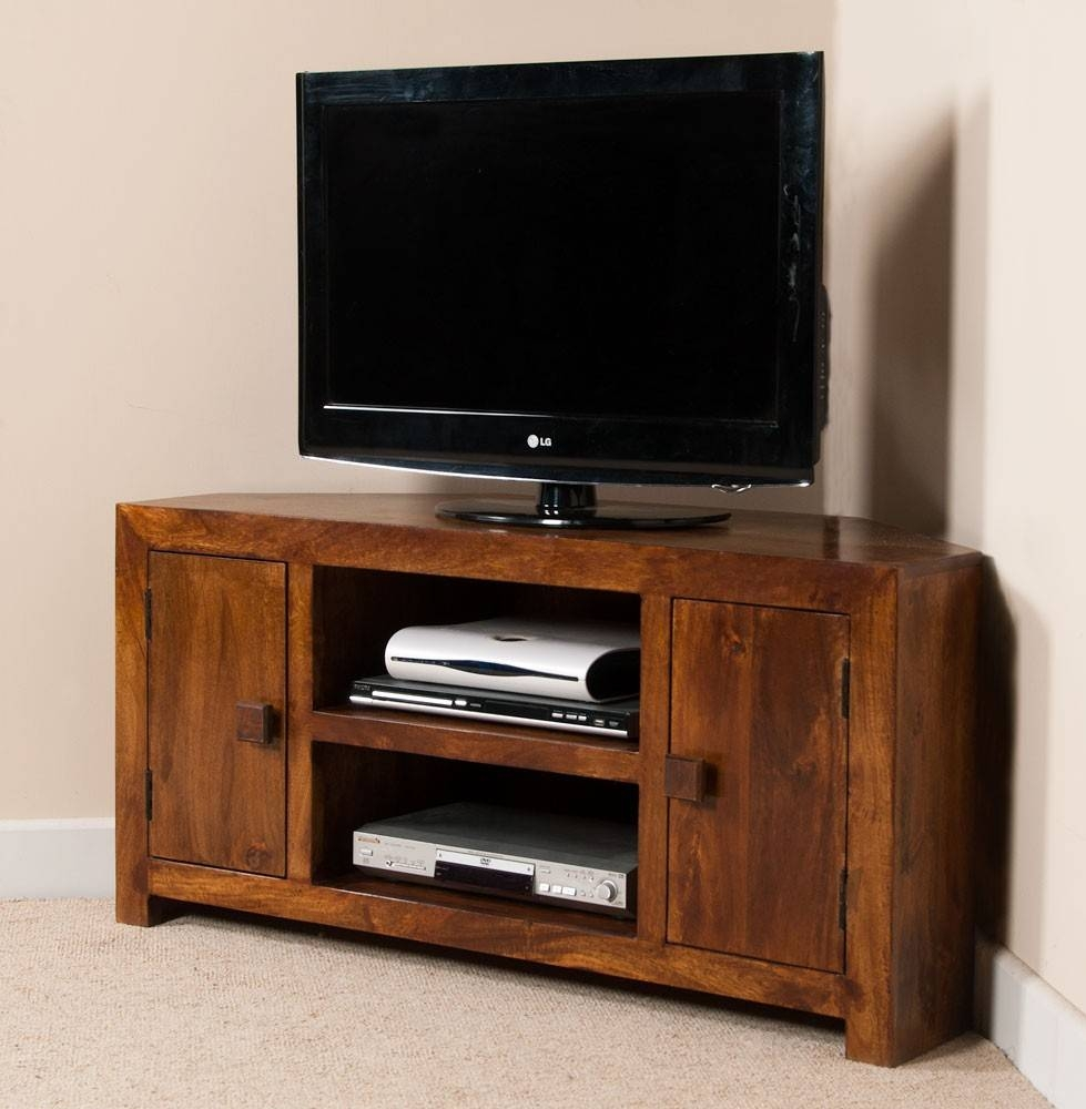 Solid Wood Corner Tv Cabinet – Large | Dakota Mango Furniture Within Wooden Corner Tv Units (View 4 of 15)