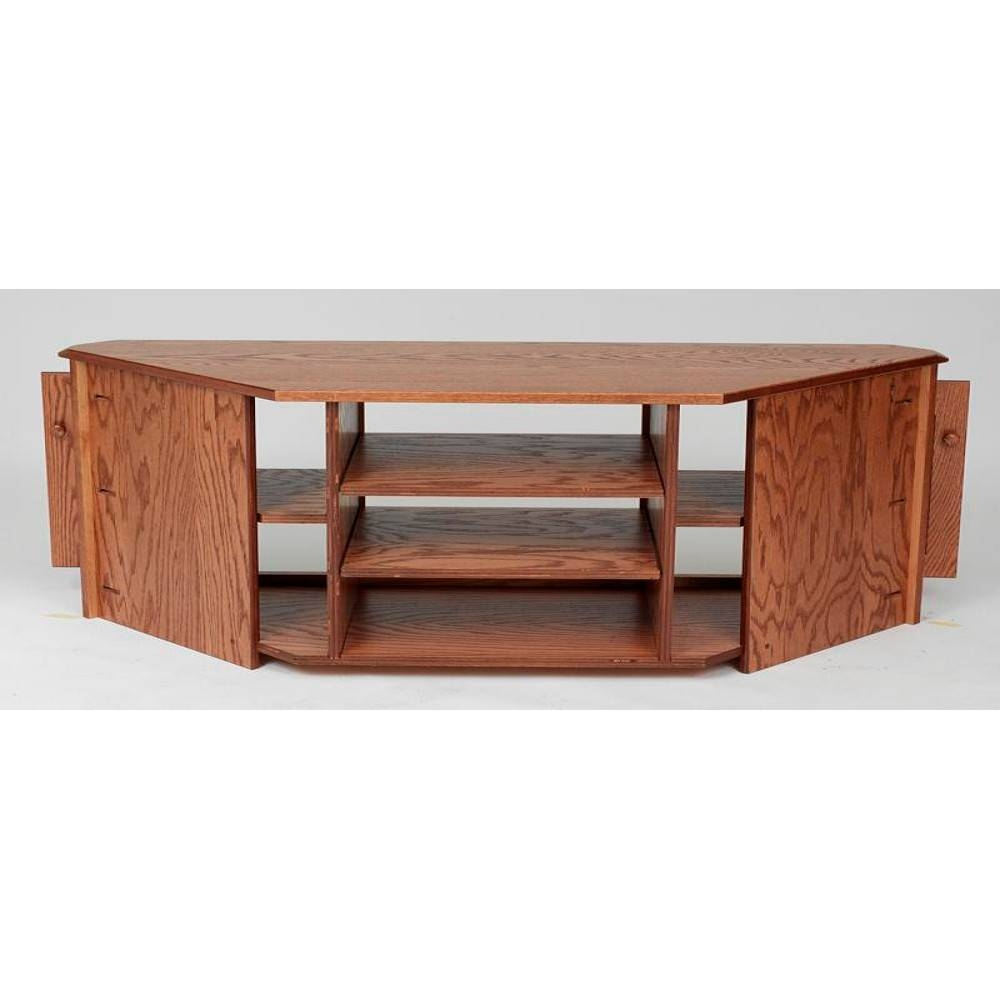 Solid Wood Oak Country Corner Tv Stand W/cabinet – 55″ – The Oak pertaining to Solid Wood Corner Tv Cabinets (Image 15 of 15)