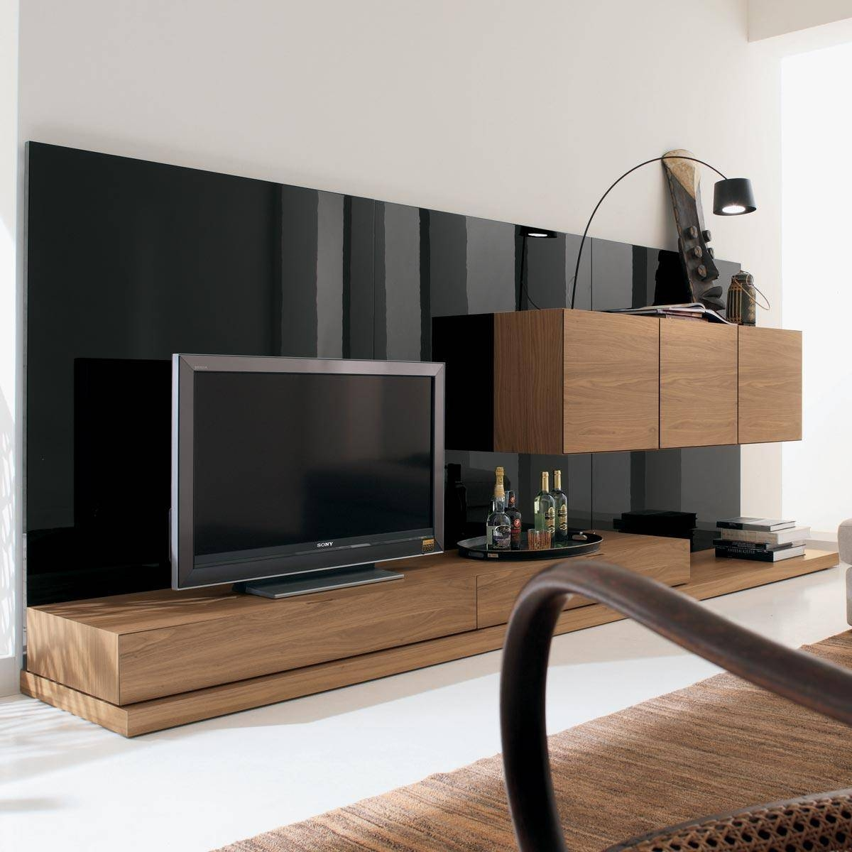 Solid Wood Tv Stand Also Long Tv Stand And Black Wall Living Room throughout Contemporary Tv Cabinets (Image 15 of 15)