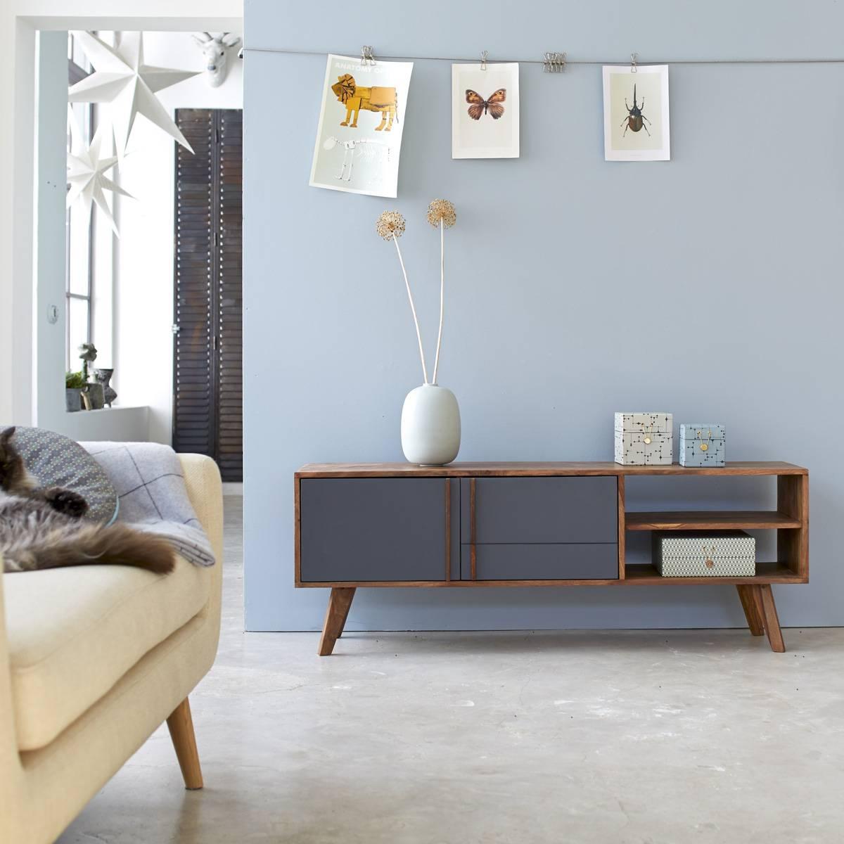 Solid Wood Tv Stands - Oak, Teak, Mahogany Tv Stands - Tikamoon regarding Scandinavian Design Tv Cabinets (Image 13 of 15)