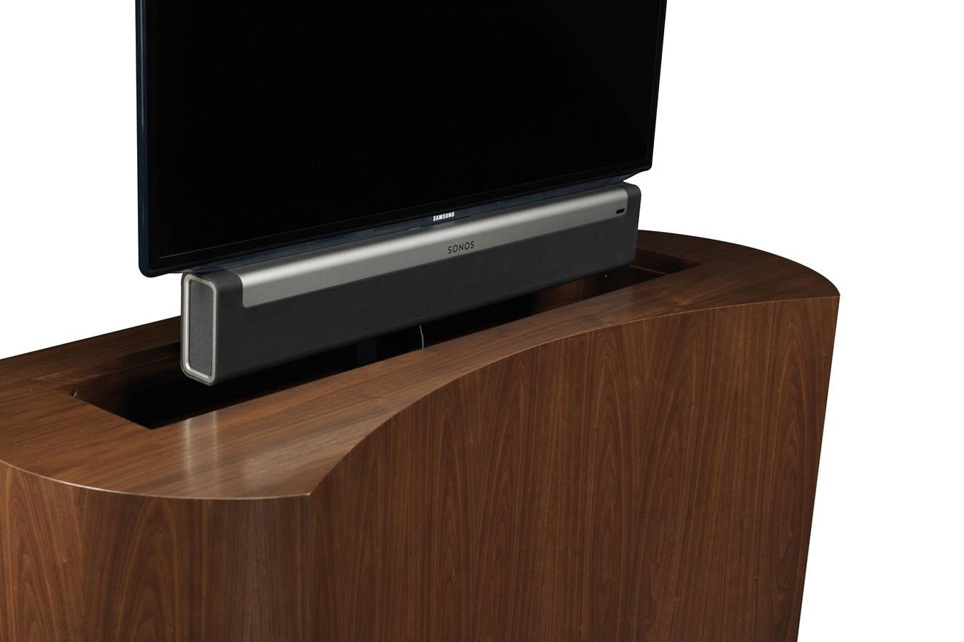 sonos sound bar playbar with tv lift cabinet with sonos tv stands