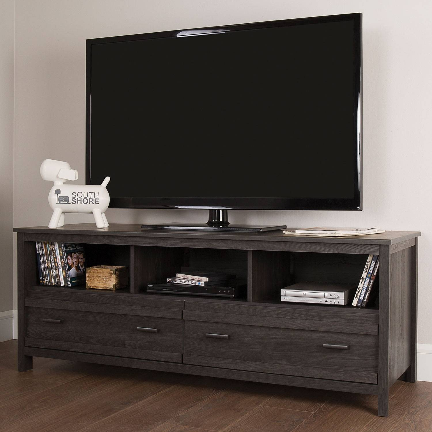 "South Shore Exhibit 60"" Tv Stand - Grey Oak : Tv Stands - Best Buy pertaining to Grey Tv Stands (Image 11 of 15)"
