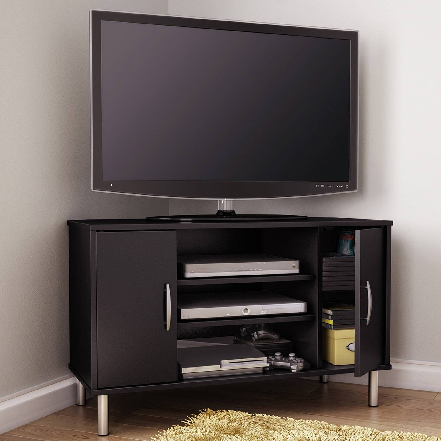 Featured Photo of Black Wood Corner Tv Stands