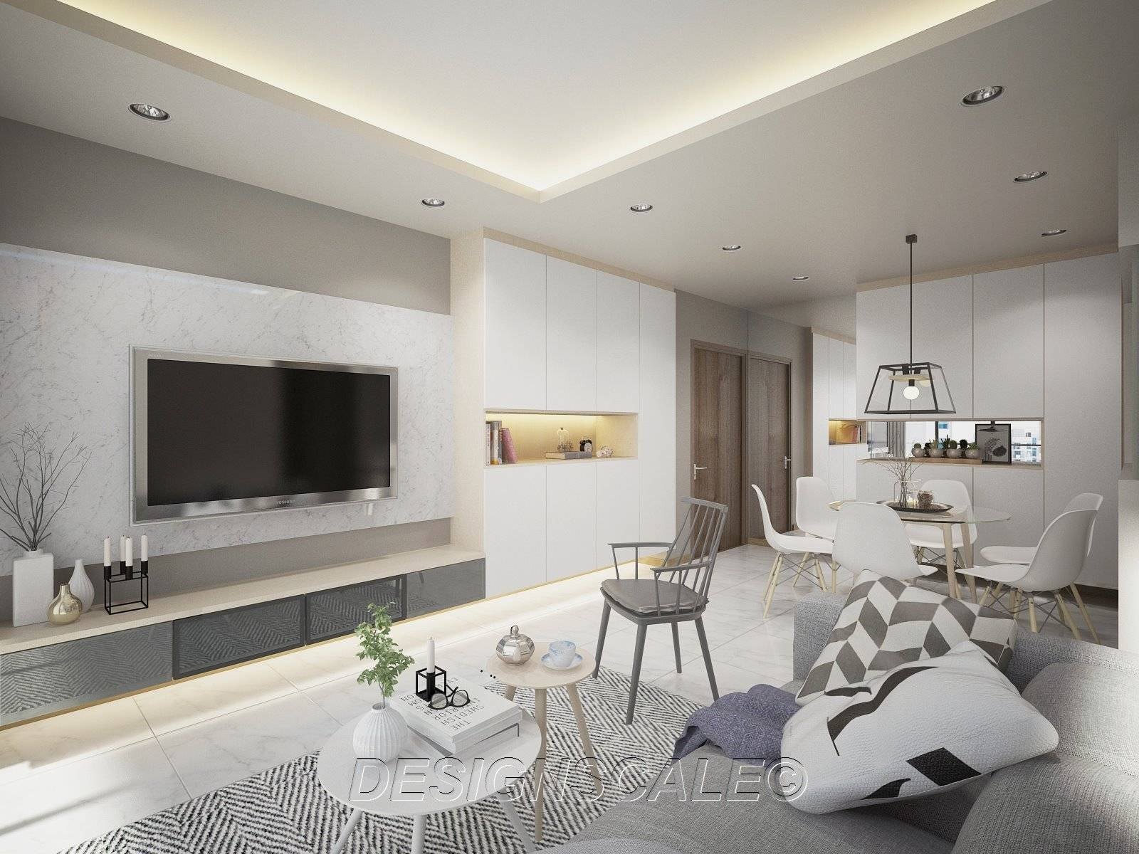 Spacious Scandinavian Home With Floating Cabinets Inside Scandinavian Design Tv Cabinets (View 14 of 15)