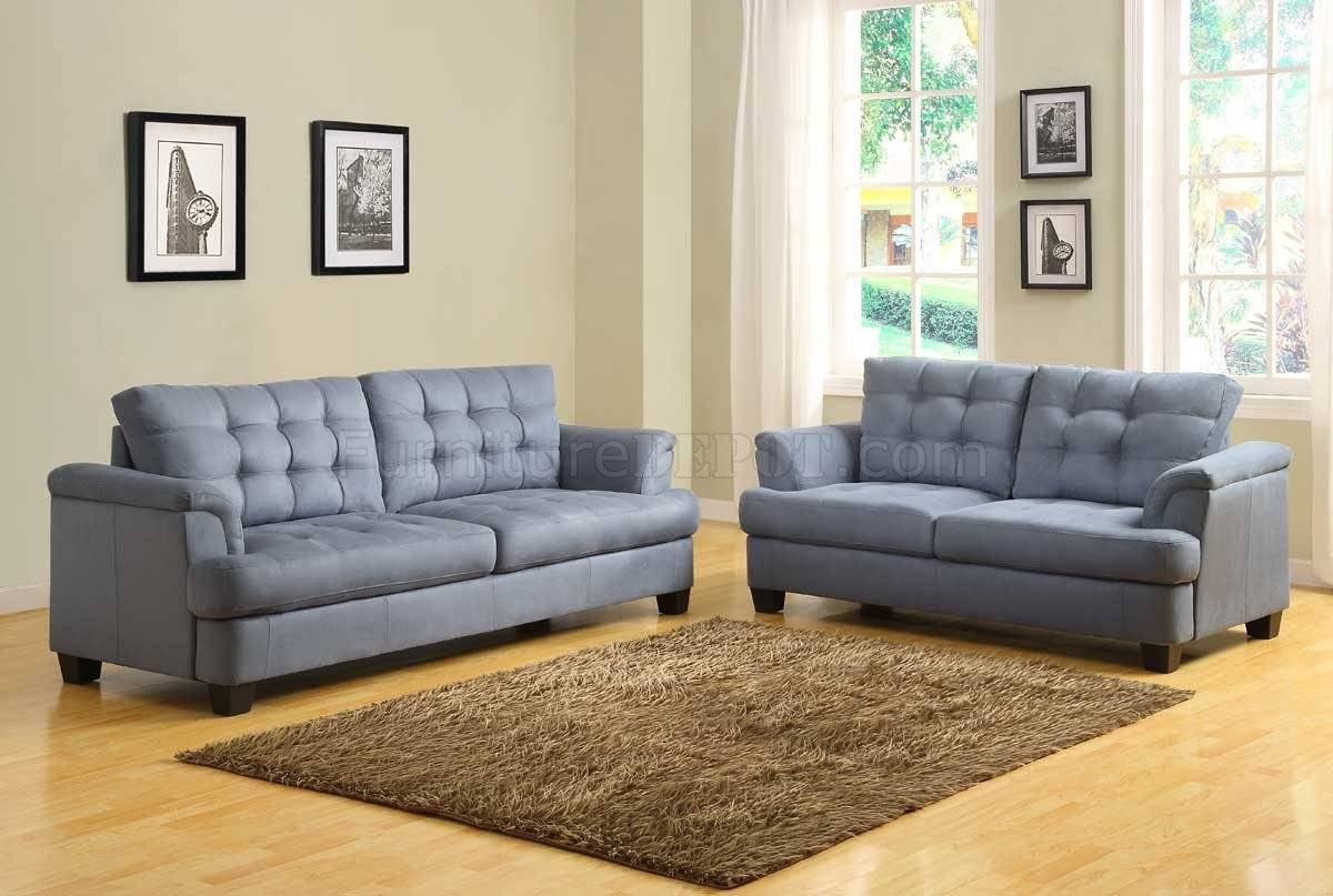 St. Charles 9736 Sofa - Homelegance - Blue Grey Fabric W/options in Blue Grey Sofas (Image 15 of 15)