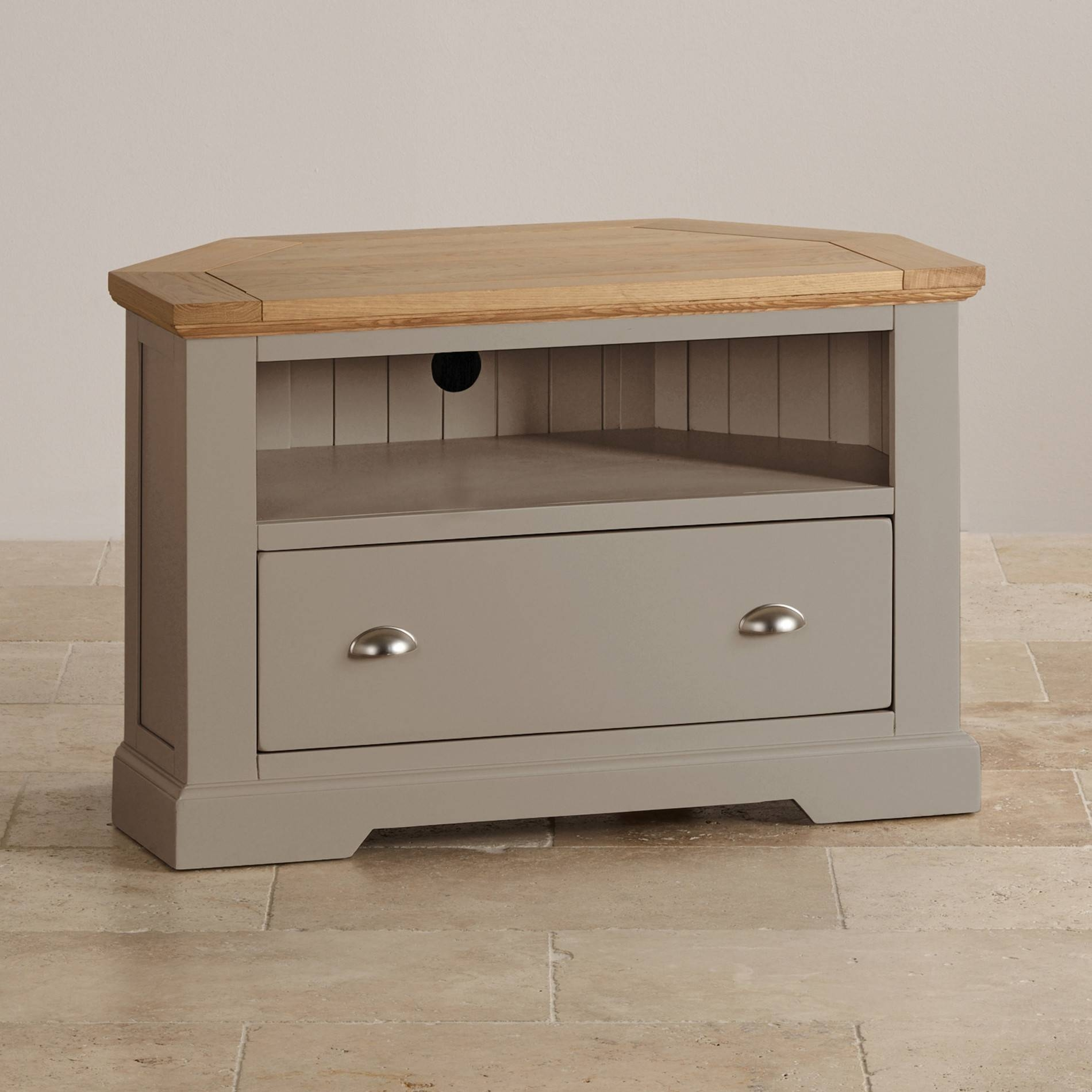 St Ives Corner Tv Unit In Grey Painted Acacia With Oak Top inside Small Corner Tv Cabinets (Image 13 of 15)