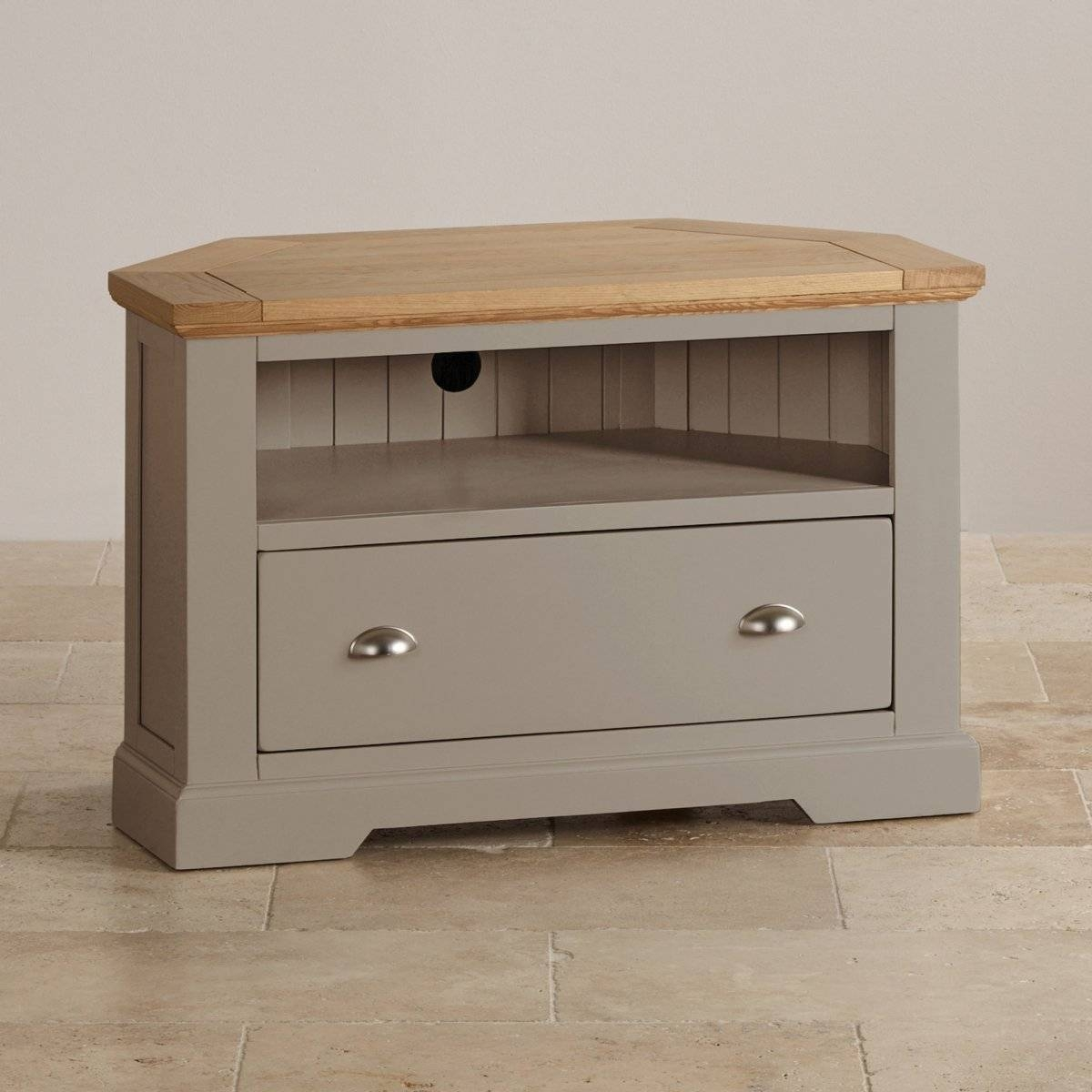 St Ives Corner Tv Unit In Grey Painted Acacia With Oak Top Pertaining To Silver Corner Tv Stands (View 6 of 15)