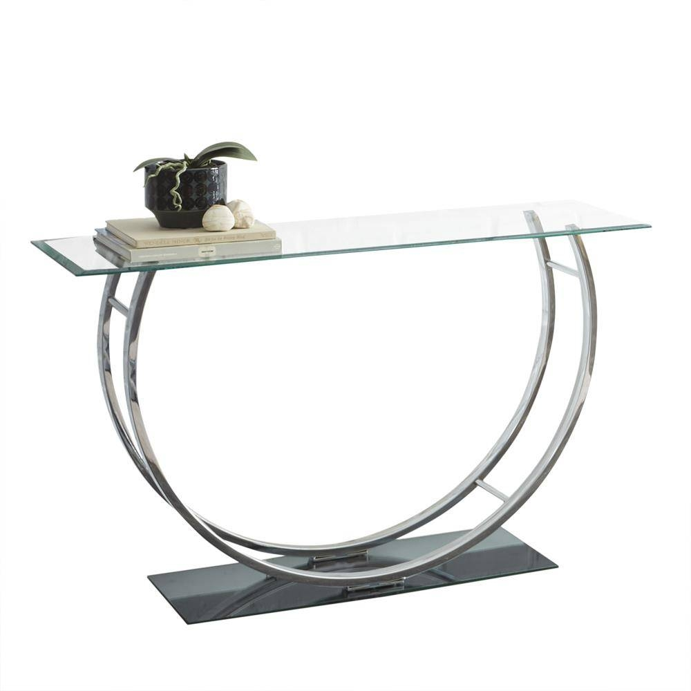 Steve Silver Natalie Glass Top Sofa Table W/chrome Base – Beyond Pertaining To Chrome Sofa Tables (View 13 of 15)