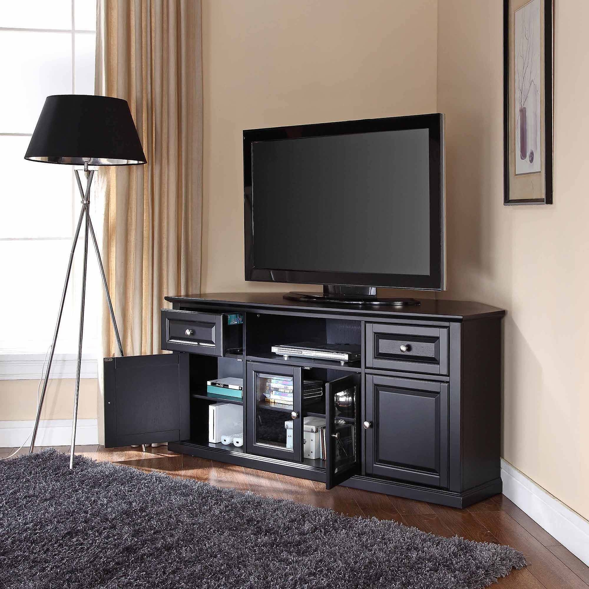 Storage Cabinets Ideas : Corner Tv Cabinet Black Choosing The throughout Triangular Tv Stands (Image 9 of 15)