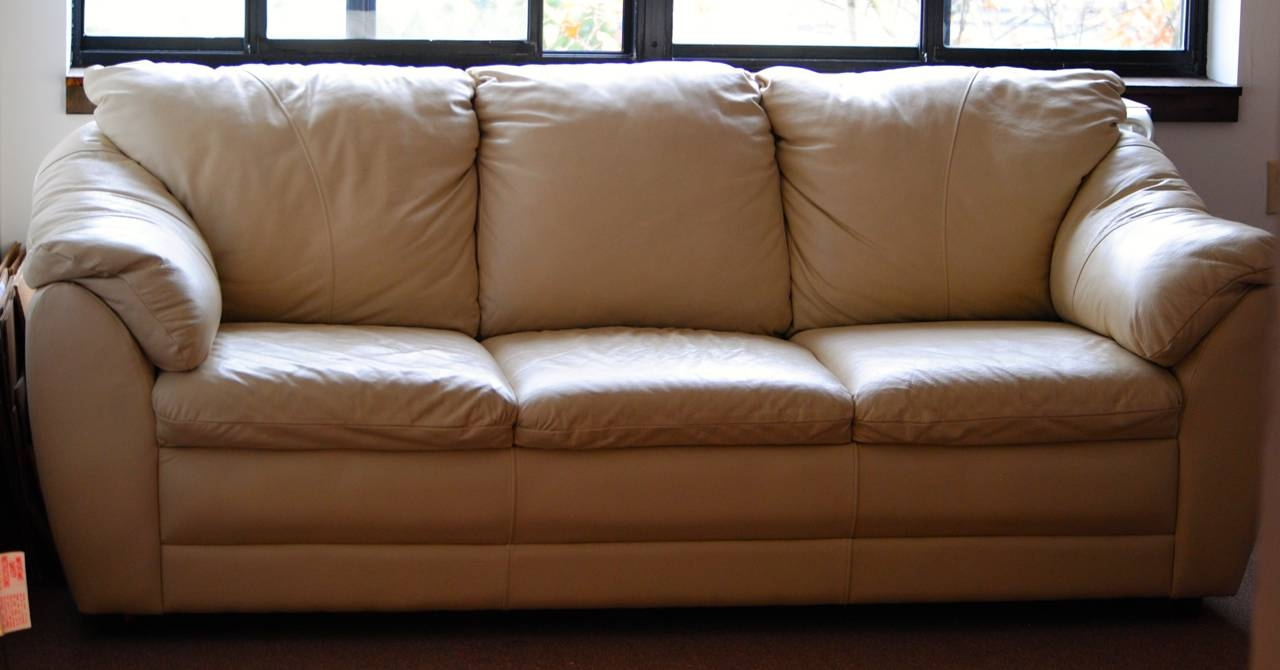 Stunning Beige Leather Couch With Dark Brown Padded Leather pertaining to Beige Leather Couches (Image 14 of 15)