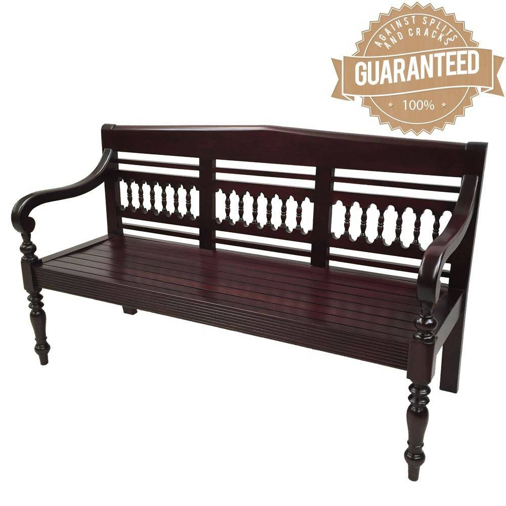 Style Solid Mahogany Wood 3 Seater Bench Sofa throughout Bench Style Sofas (Image 13 of 15)