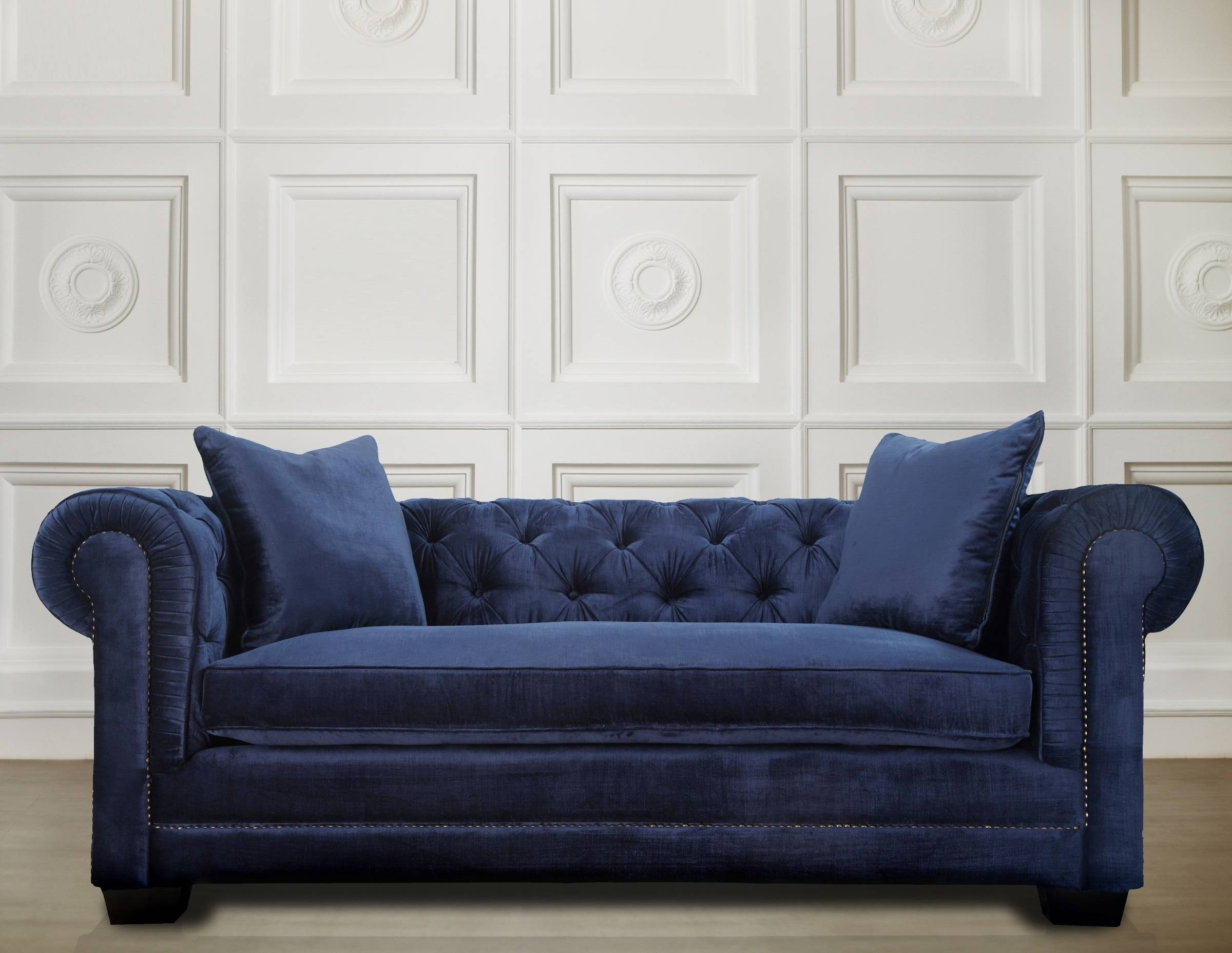 Featured Photo of Blue Velvet Tufted Sofas