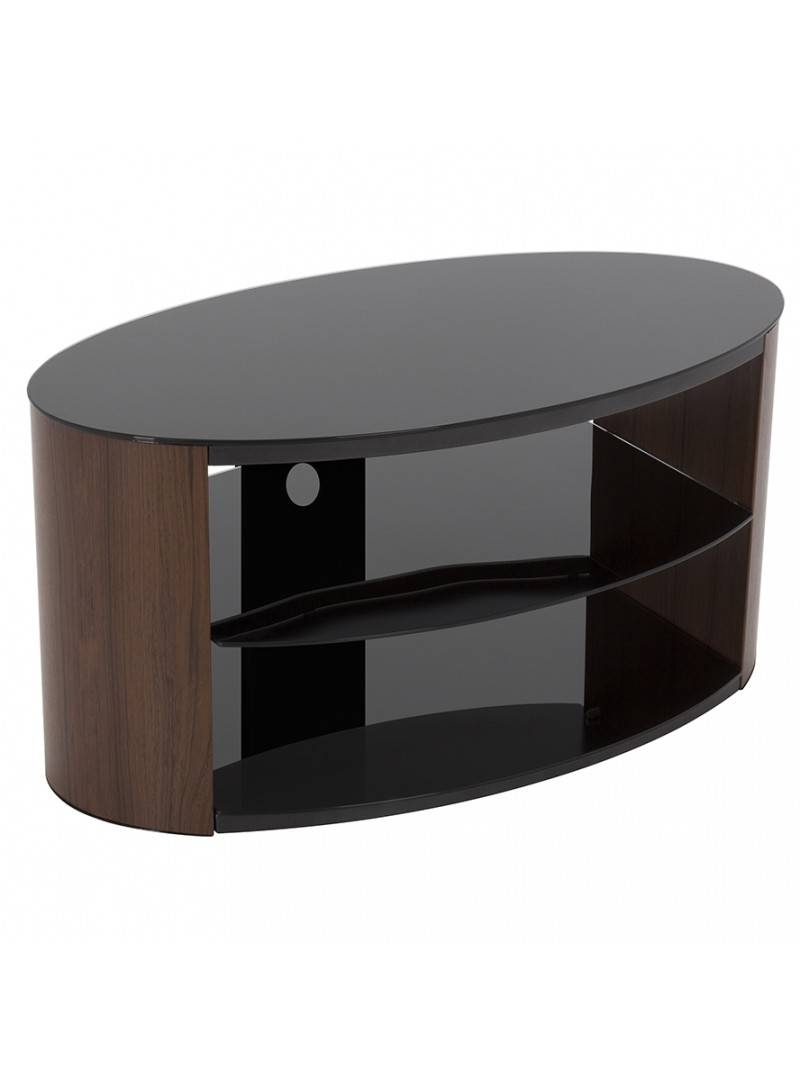 Stylish Walnut Oval Tv Stand With Gloss Black Glass Top And intended for Oval Glass Tv Stands (Image 9 of 15)