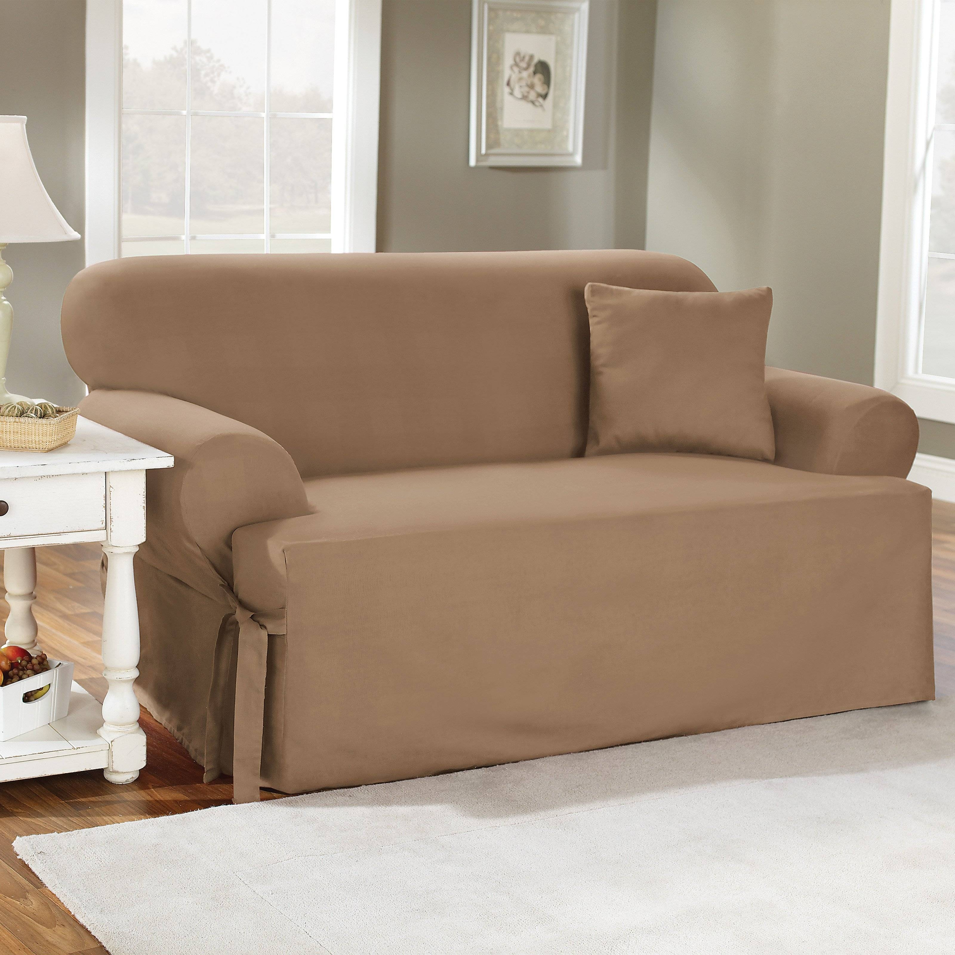 Sure Fit Cotton Duck T-Cushion Sofa Slipcover - Walmart pertaining to Loveseat Slipcovers T-Cushion (Image 11 of 15)