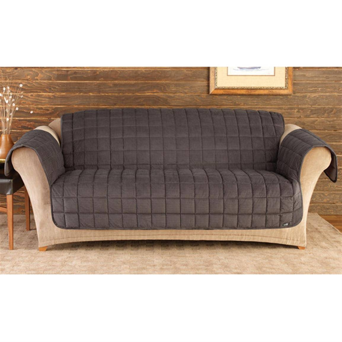 Sure Fit Deluxe Velvet Mini-Check Sofa Pet Cover, Black And Brown throughout Sofas With Black Cover (Image 14 of 15)